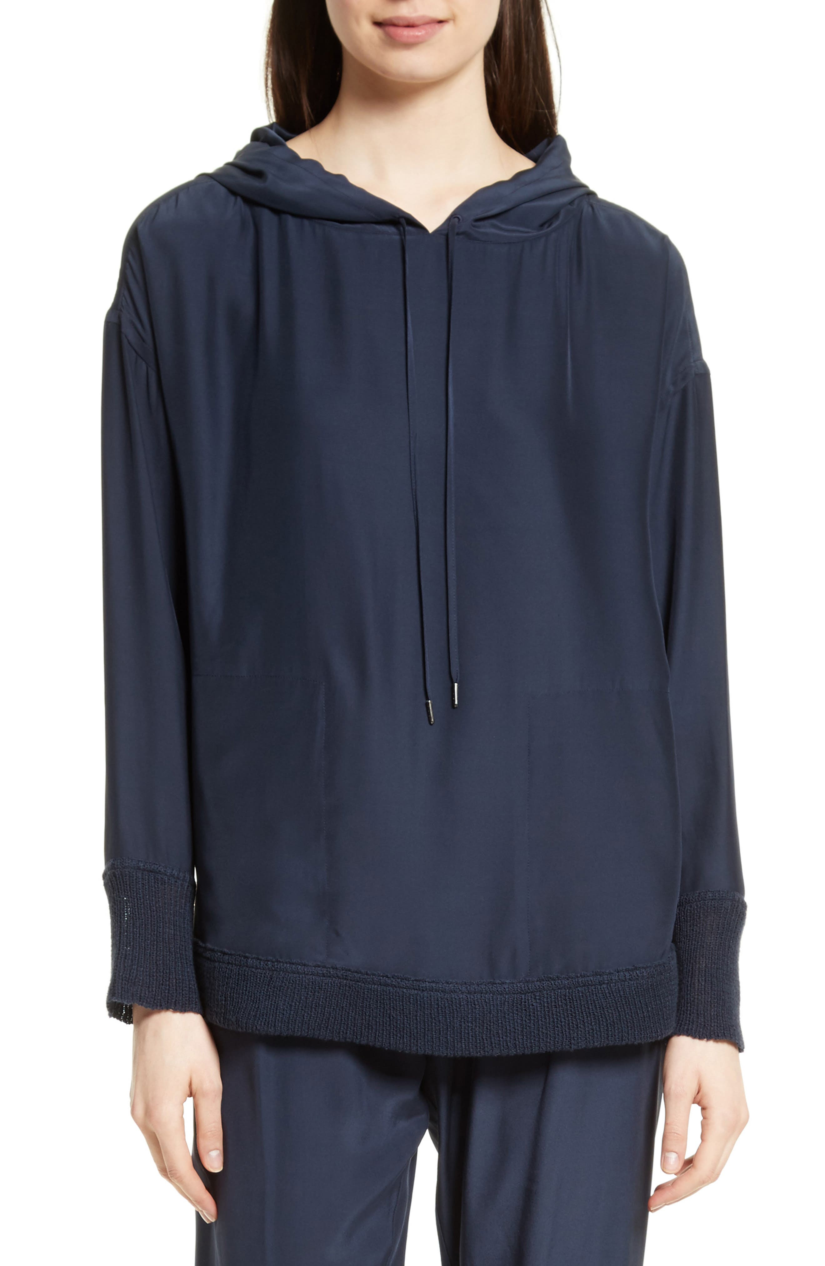 Silk Hoodie,                         Main,                         color, Midnight