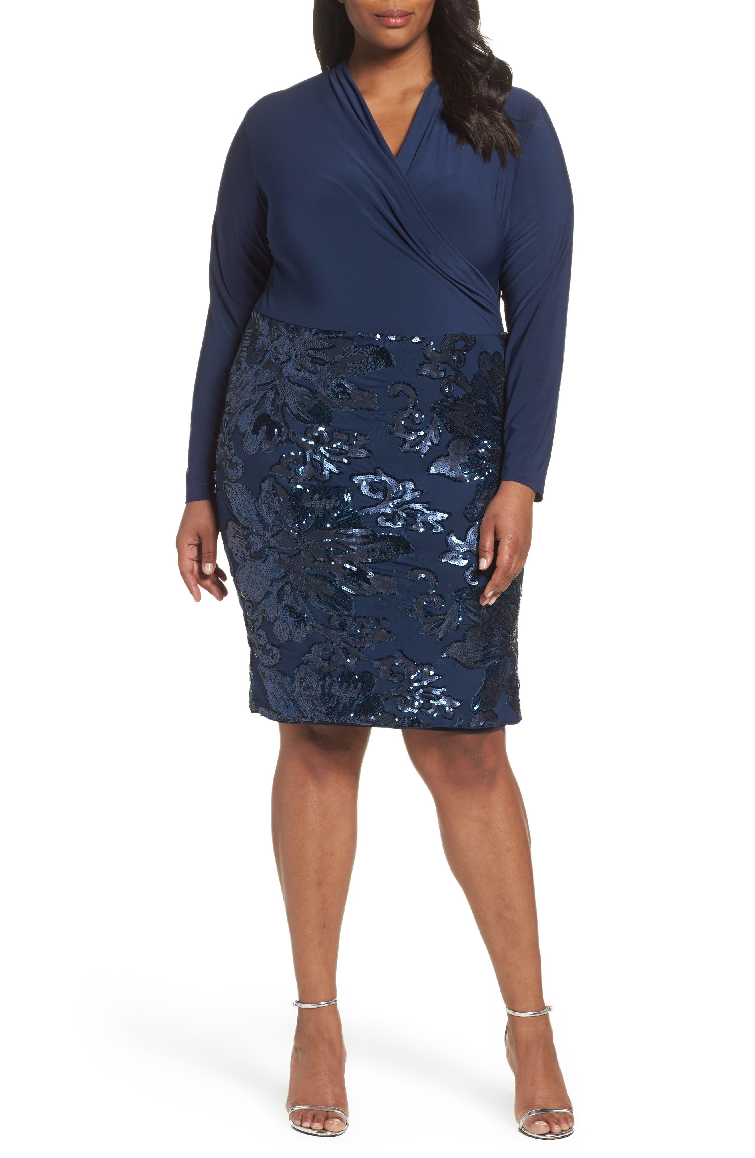 Main Image - Marina Sequin Faux Wrap Sheath Dress (Plus Size)