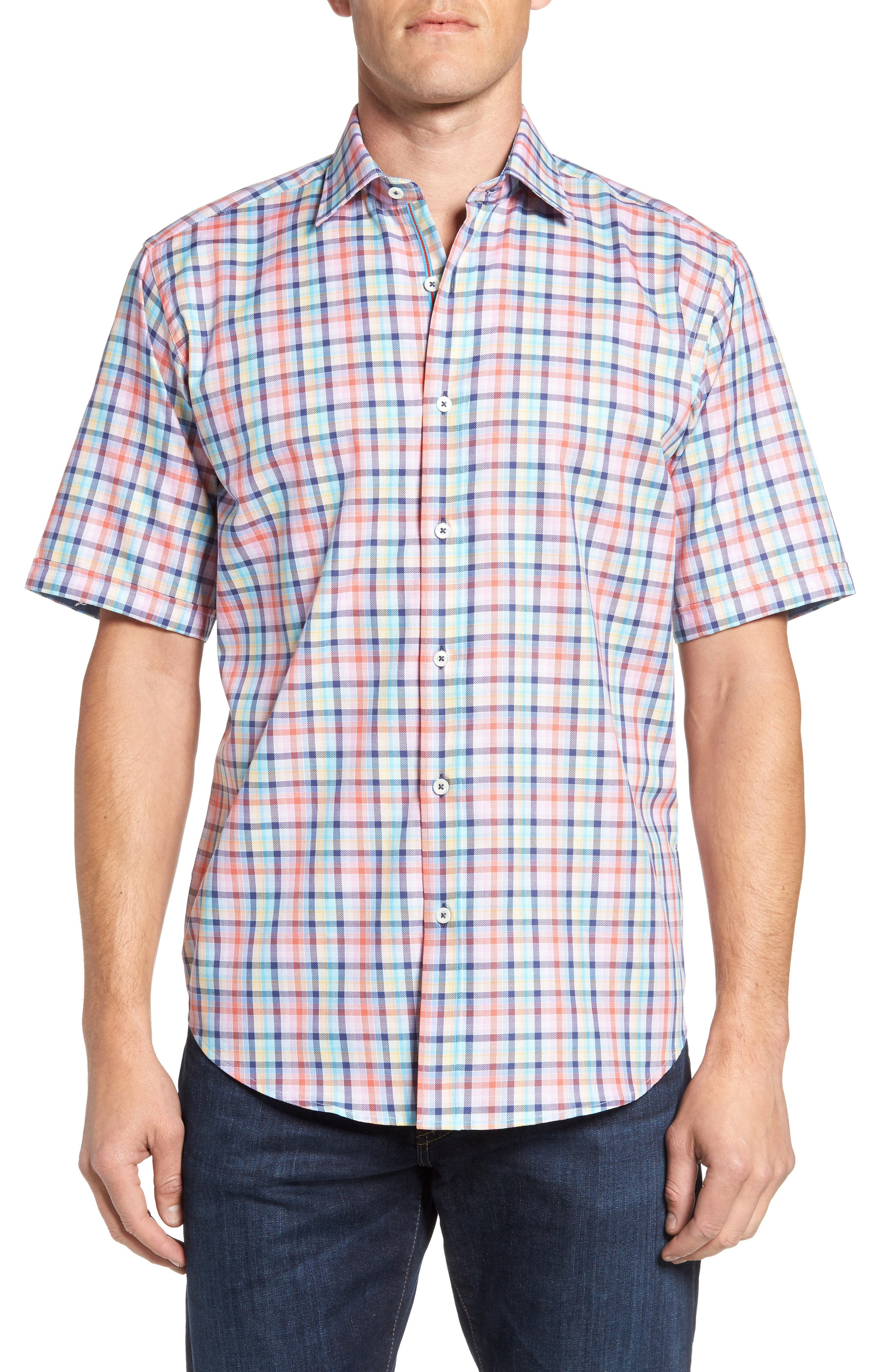 Classic Fit Check Short Sleeve Sport Shirt,                         Main,                         color, Coral