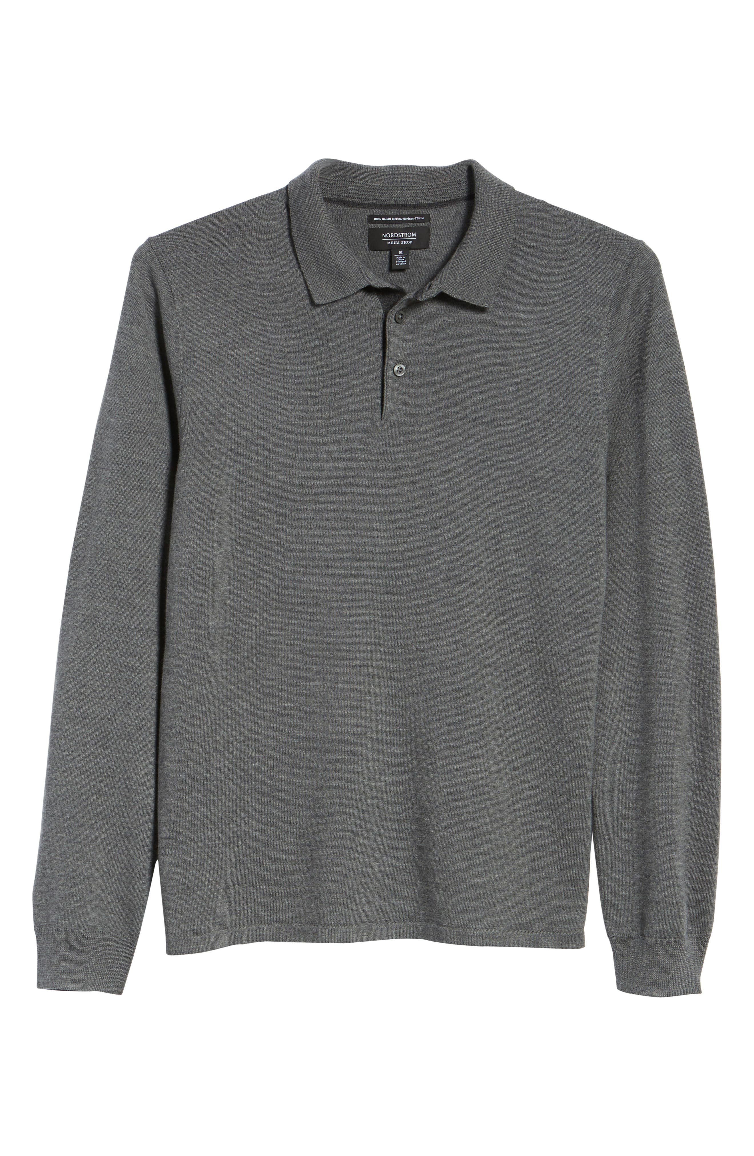Merino Wool Polo Sweater,                             Alternate thumbnail 6, color,                             Grey Heather