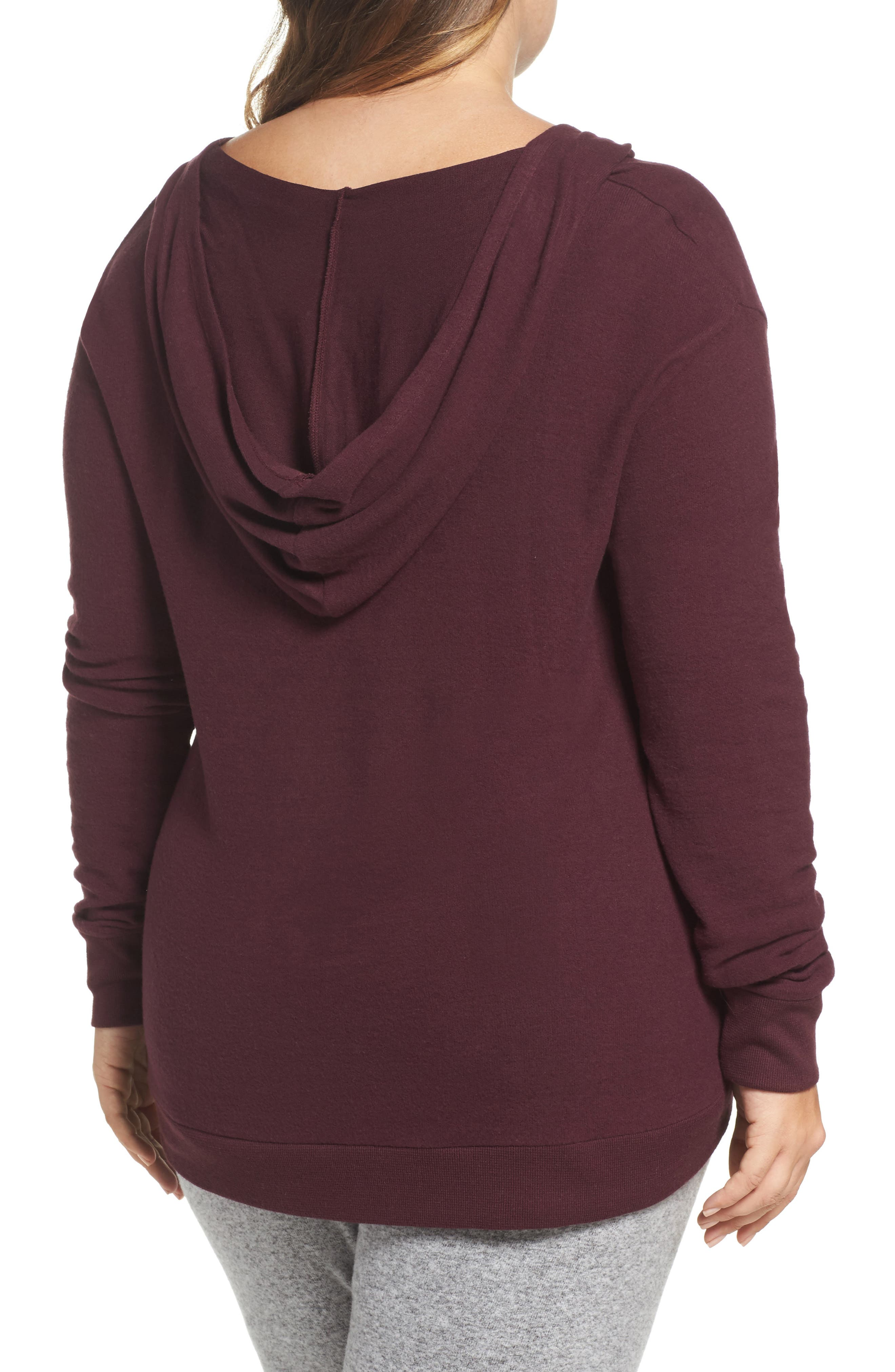 Lace-Up Pullover,                             Alternate thumbnail 2, color,                             Burgundy Stem Marl