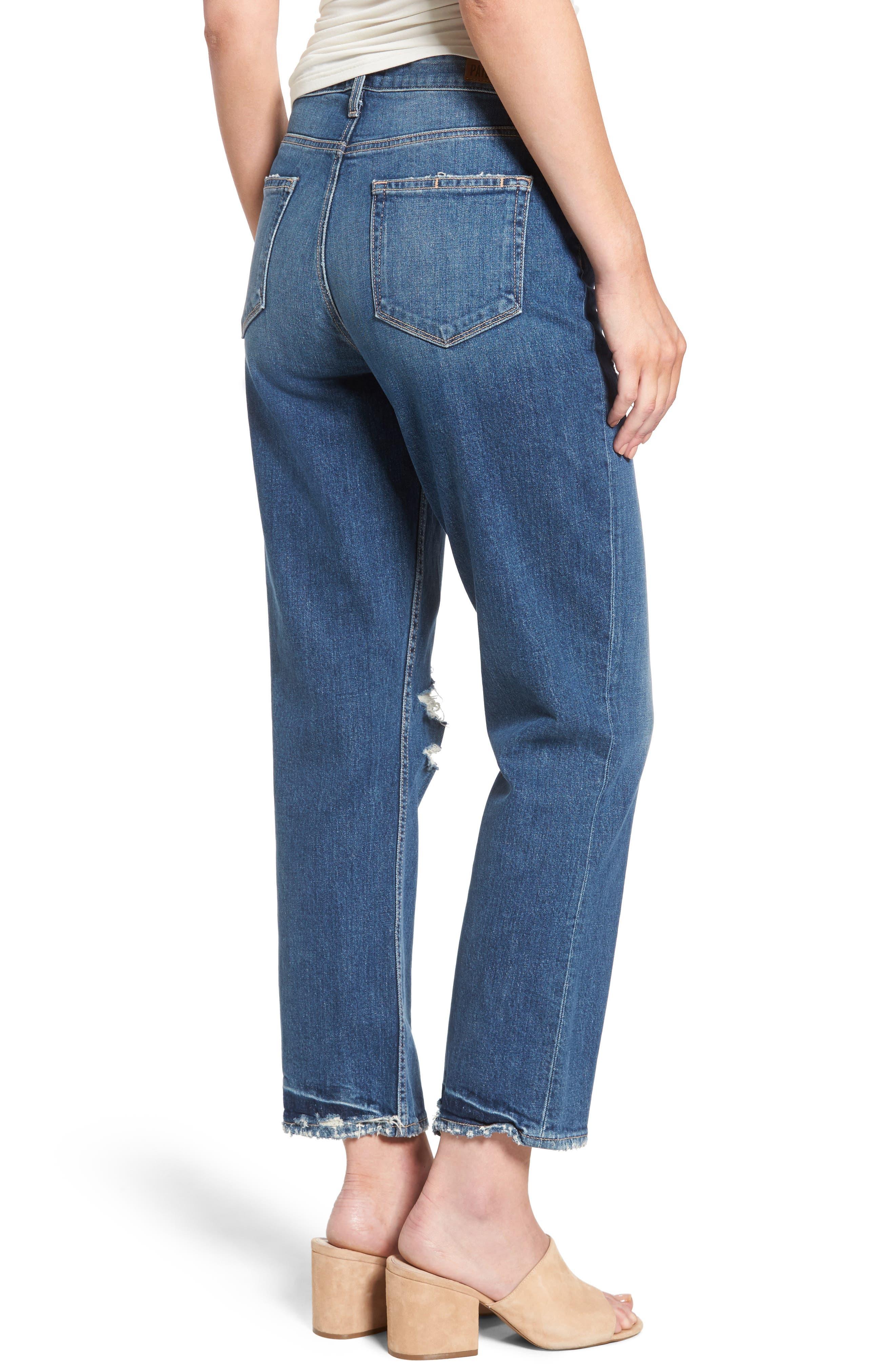 Alternate Image 3  - PAIGE Vintage - Sarah High Waist Crop Straight Leg Jeans (Kellan Destructed)