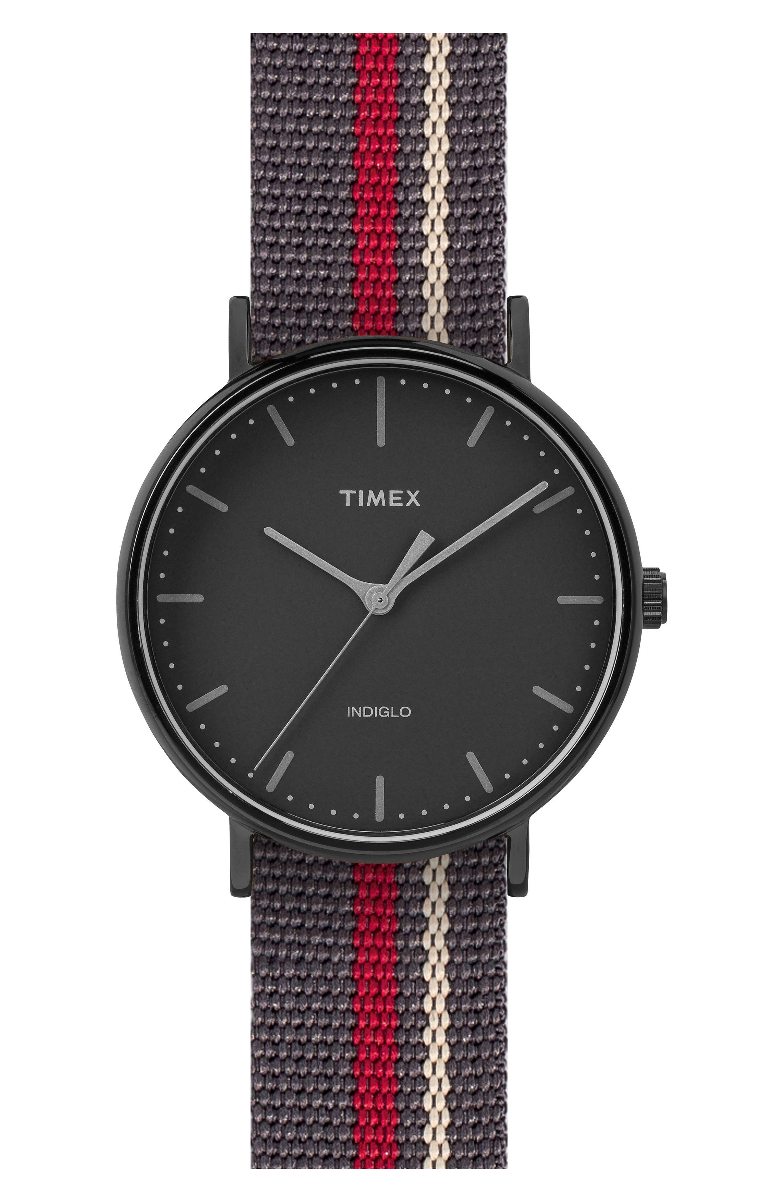 Fairfield Pavilion Round Nylon Strap Watch, 41mm,                             Main thumbnail 1, color,                             Black/ Black