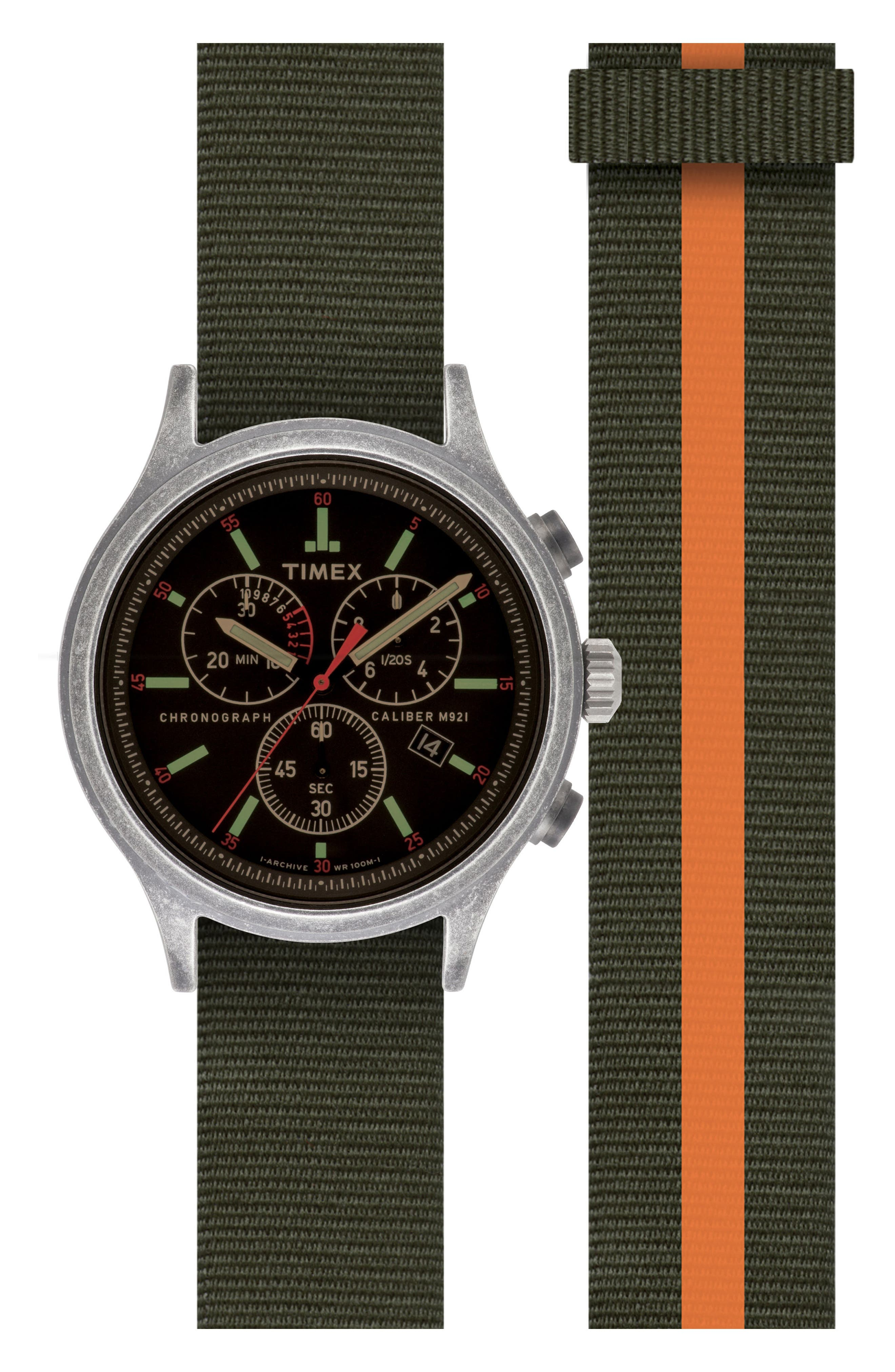 Timex<sup>®</sup> Scout Chronograph Canvas Strap Watch Set, 43mm,                             Main thumbnail 1, color,                             Black/ Green/ Orange Stripe