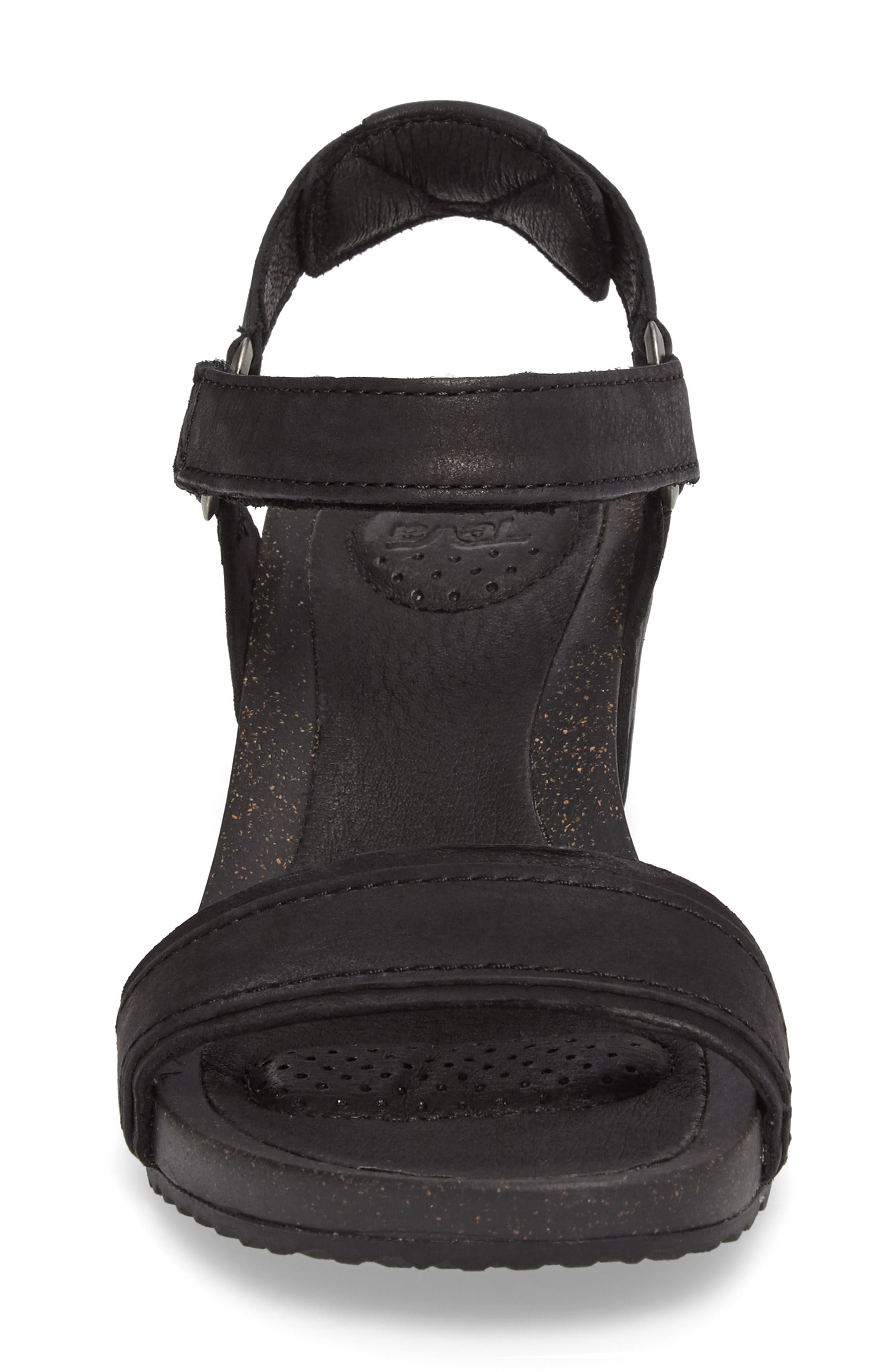 Ysidro Stitch Wedge Sandal,                             Alternate thumbnail 4, color,                             Black Leather