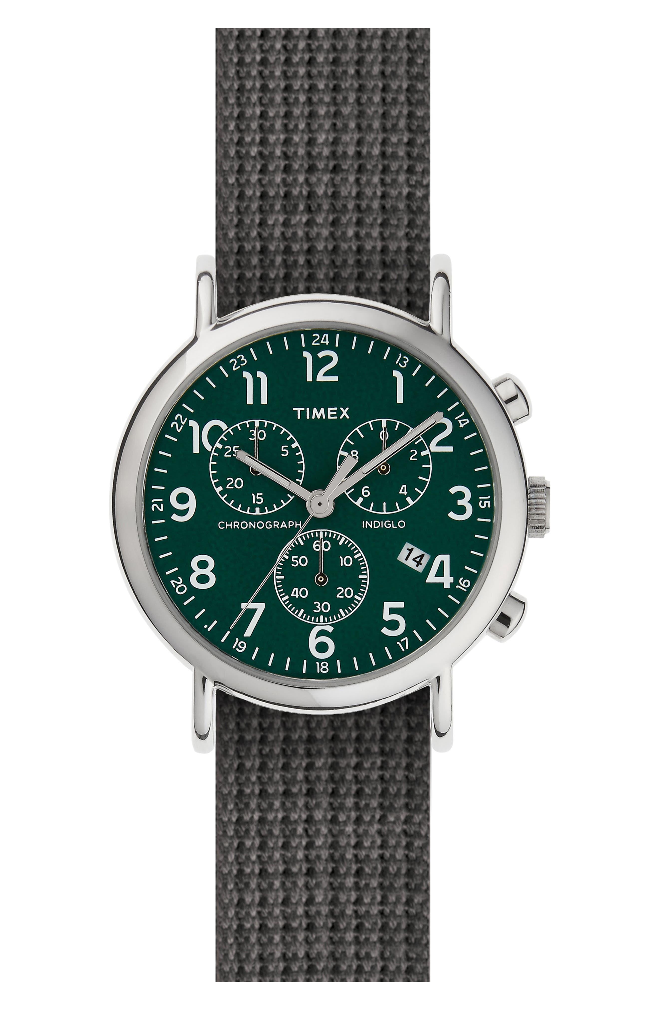 Chronograph Web Strap Watch, 39mm,                         Main,                         color, Green/ Melange Grey