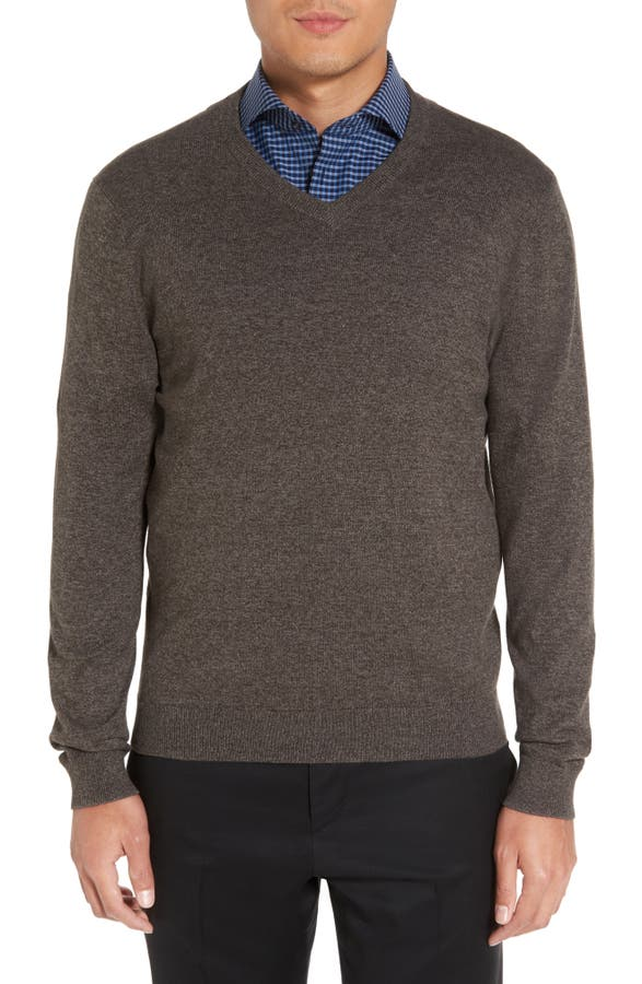 Nordstrom Men's Shop Cotton & Cashmere V-Neck Sweater (Regular ...