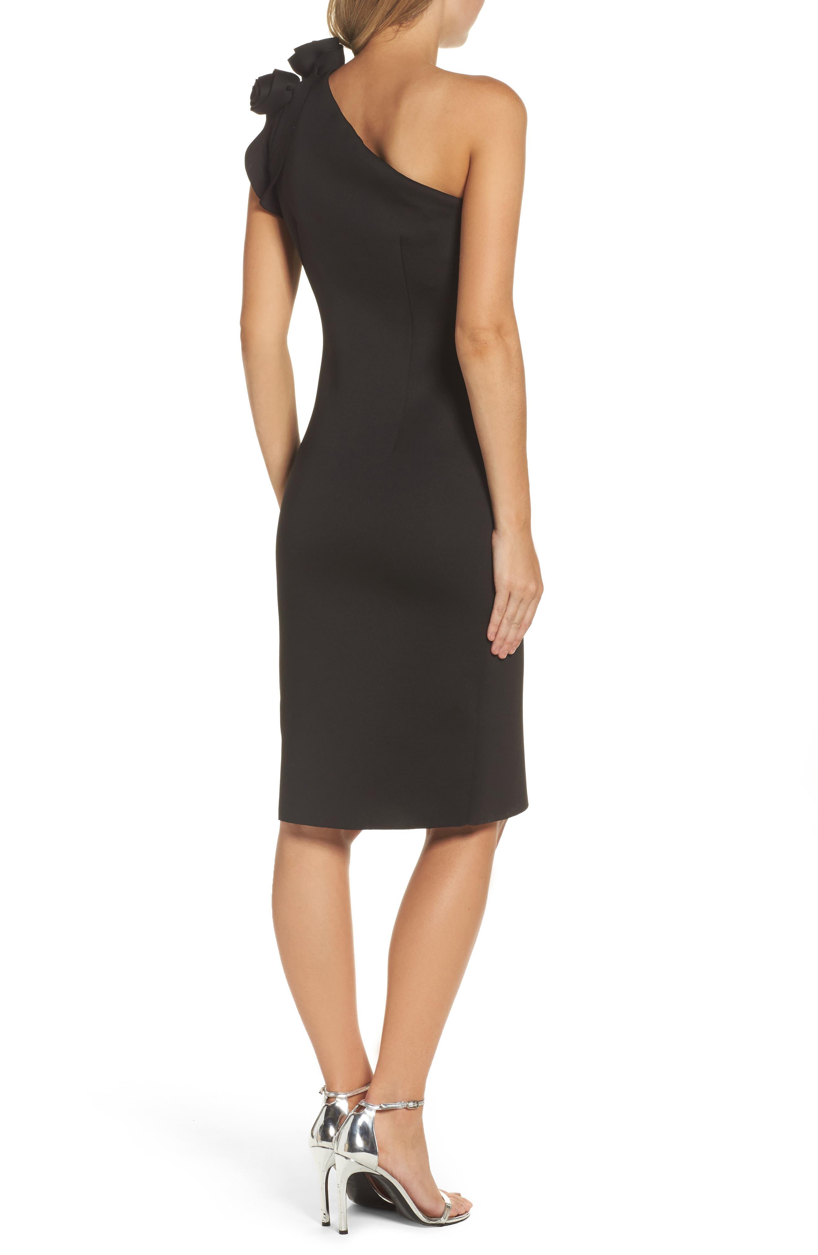 One-Shoulder Sheath Dress,                             Alternate thumbnail 2, color,                             Black