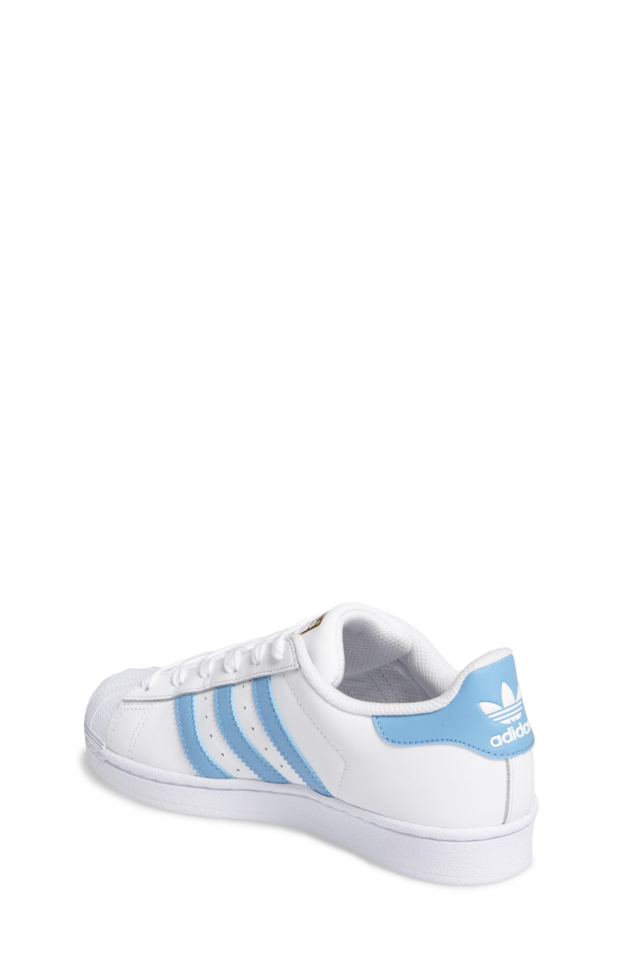 Superstar Foundation Sneaker,                             Alternate thumbnail 2, color,                             White/ Light Blue/ Gold