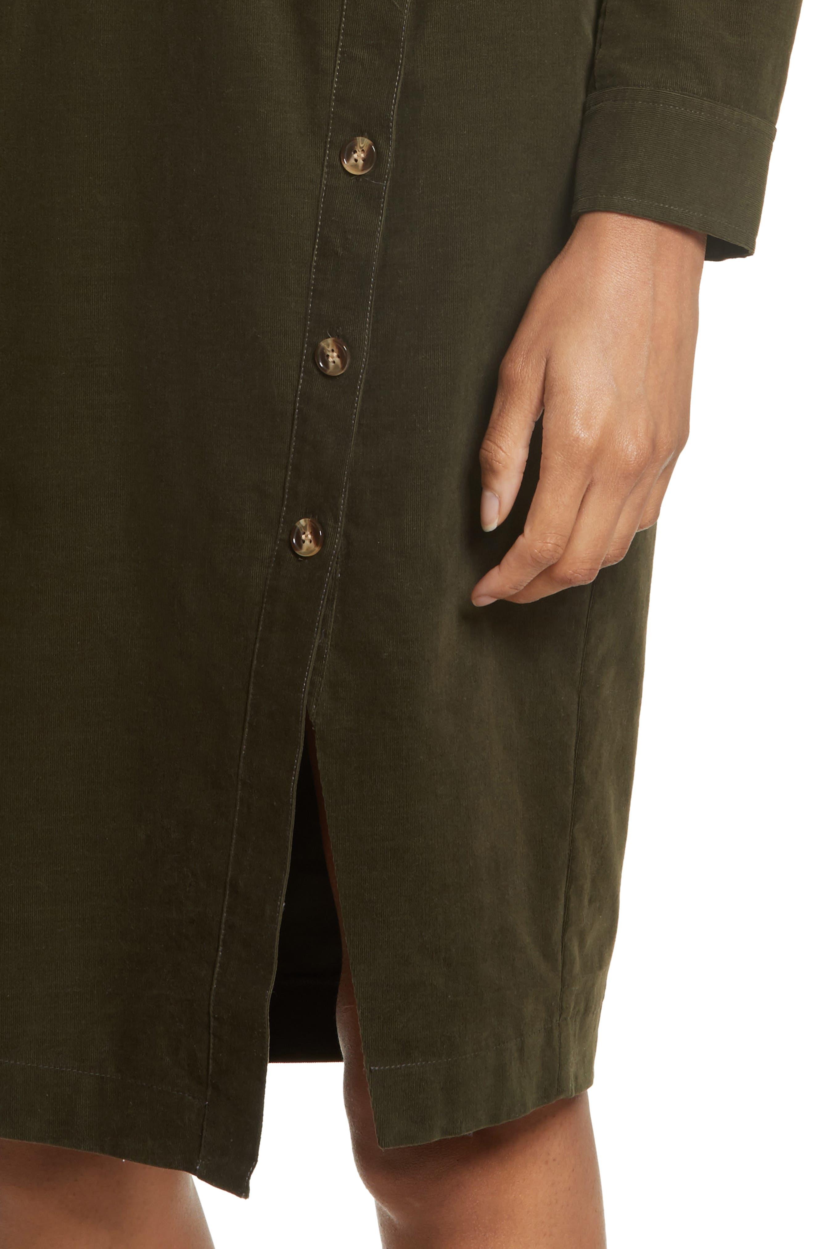 Britton Corduroy Shirtdress,                             Alternate thumbnail 4, color,                             Army Green