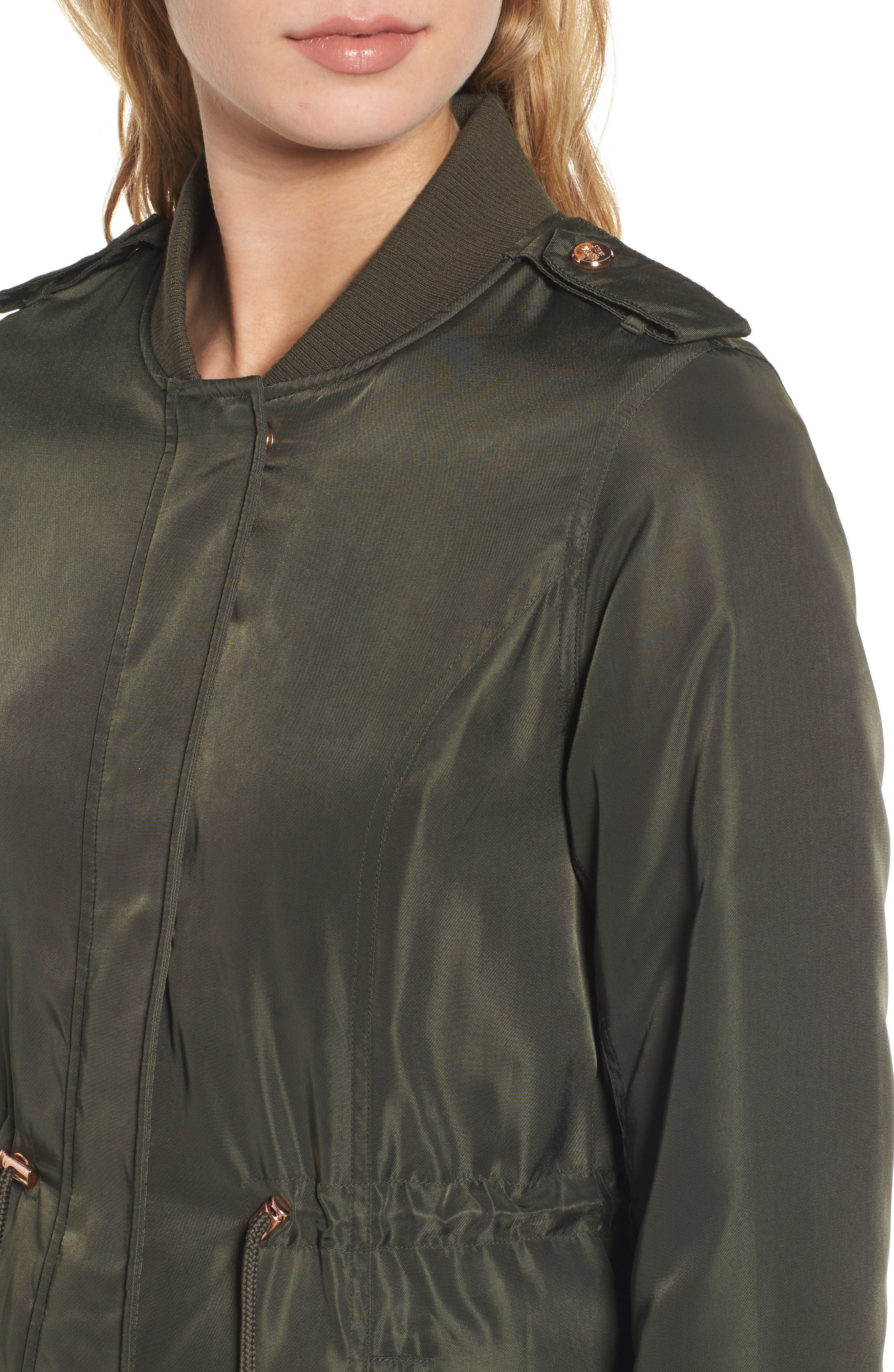Drawstring Waist Anorak,                             Alternate thumbnail 4, color,                             Olive