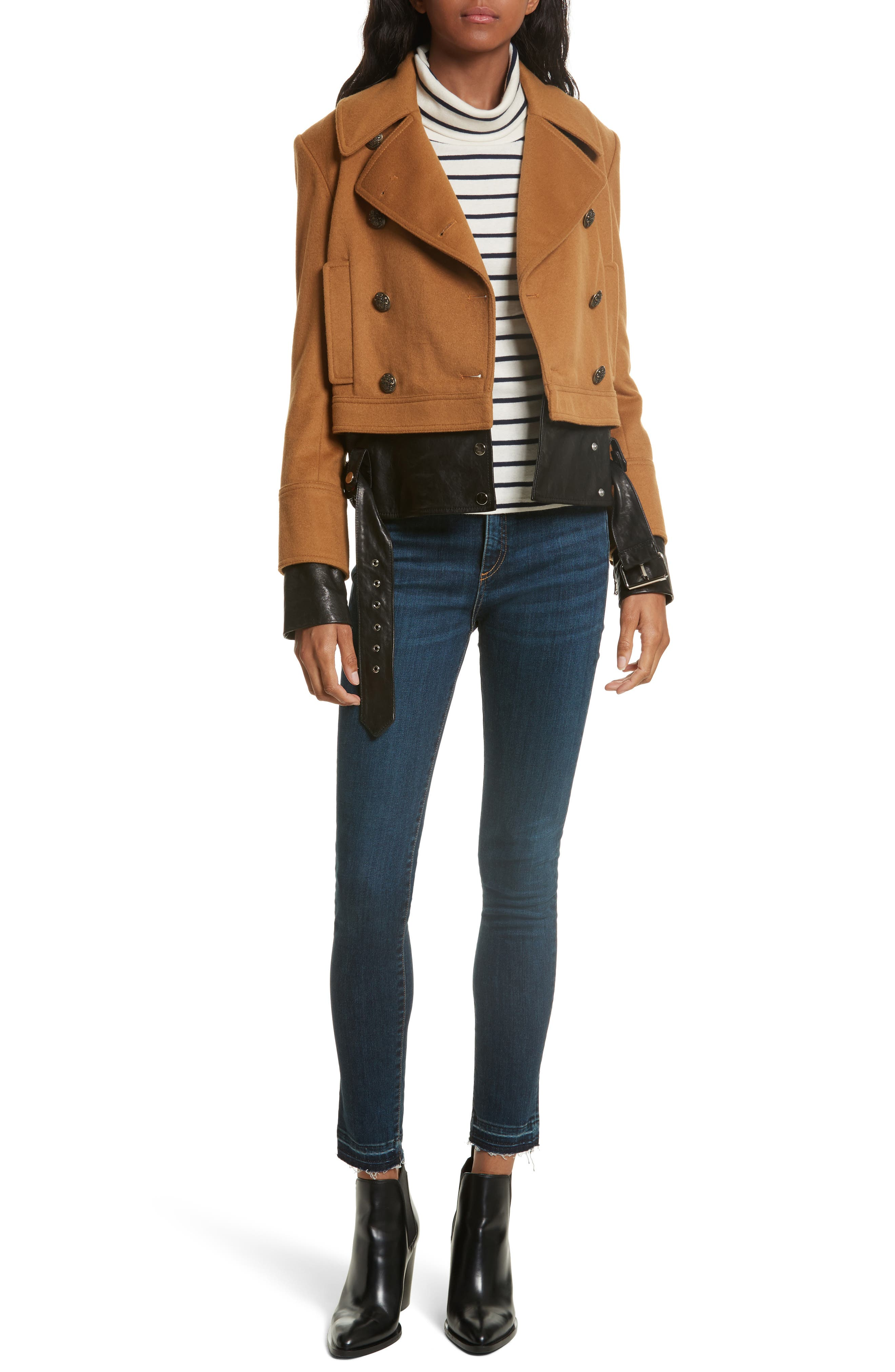Yara Leather Hem Peacoat,                             Alternate thumbnail 2, color,                             Camel