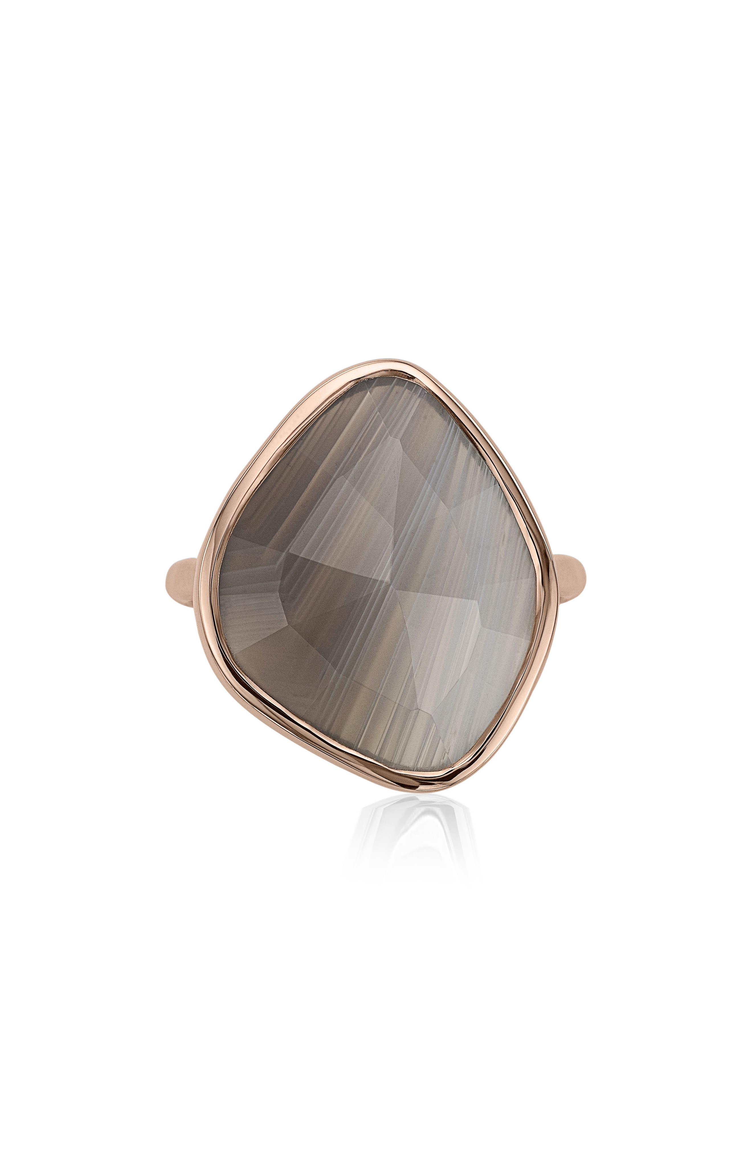 Siren Nugget Semiprecious Stone Ring,                             Main thumbnail 1, color,                             Grey Agate/ Rose Gold