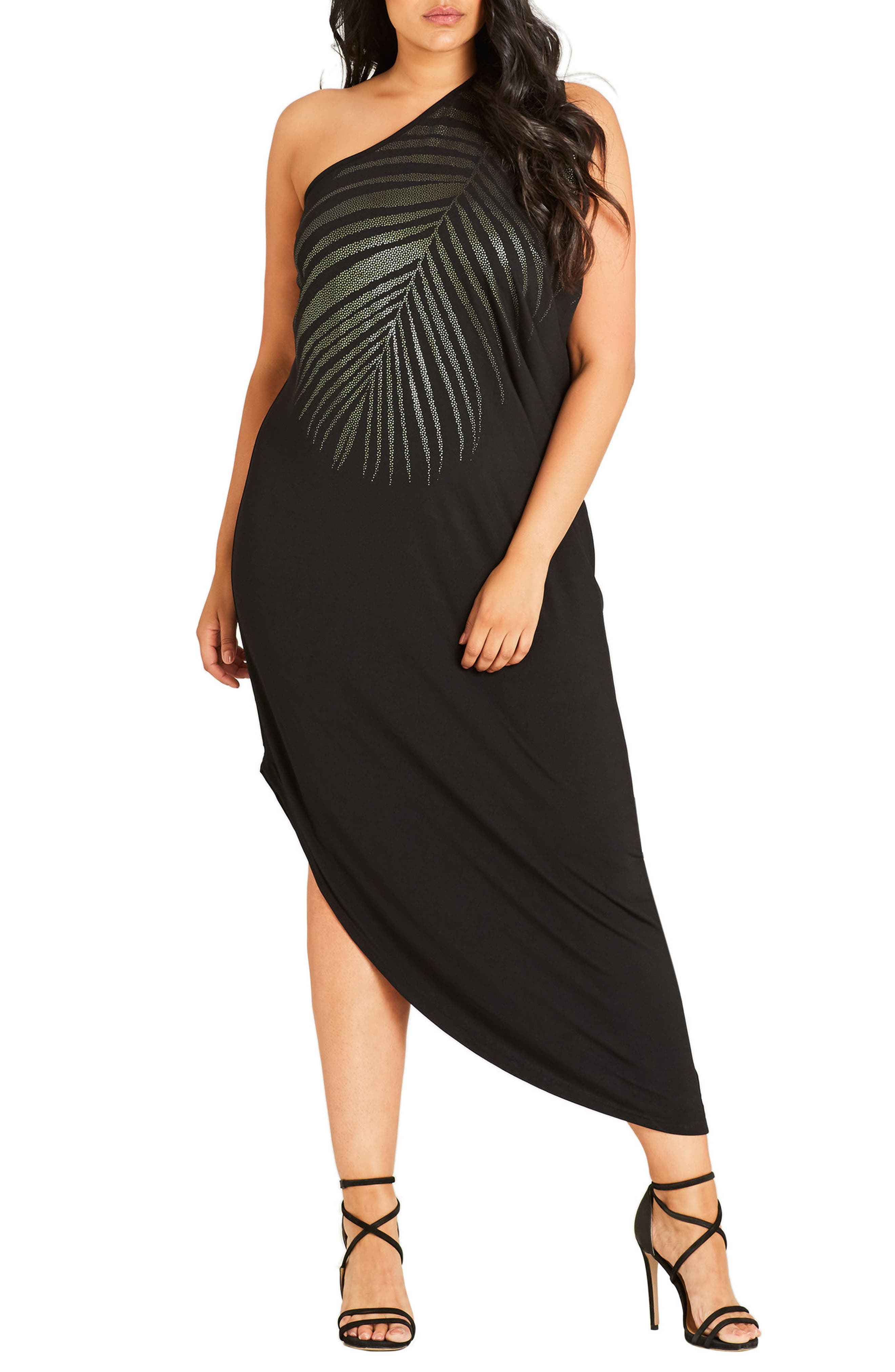 Alternate Image 1 Selected - City Chic Shimmer Palm One-Shoulder Maxi Dress (Plus Size)