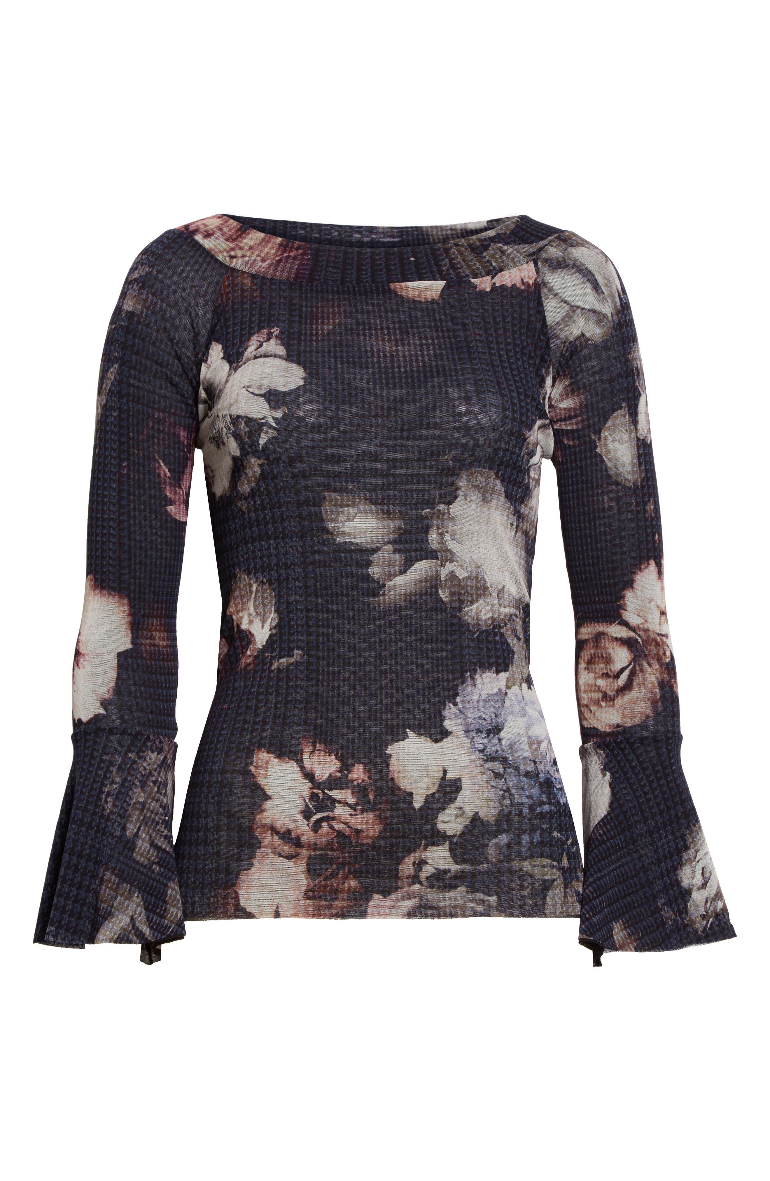 Alternate Image 4  - Fuzzi Floral Print Tulle Off the Shoulder Top