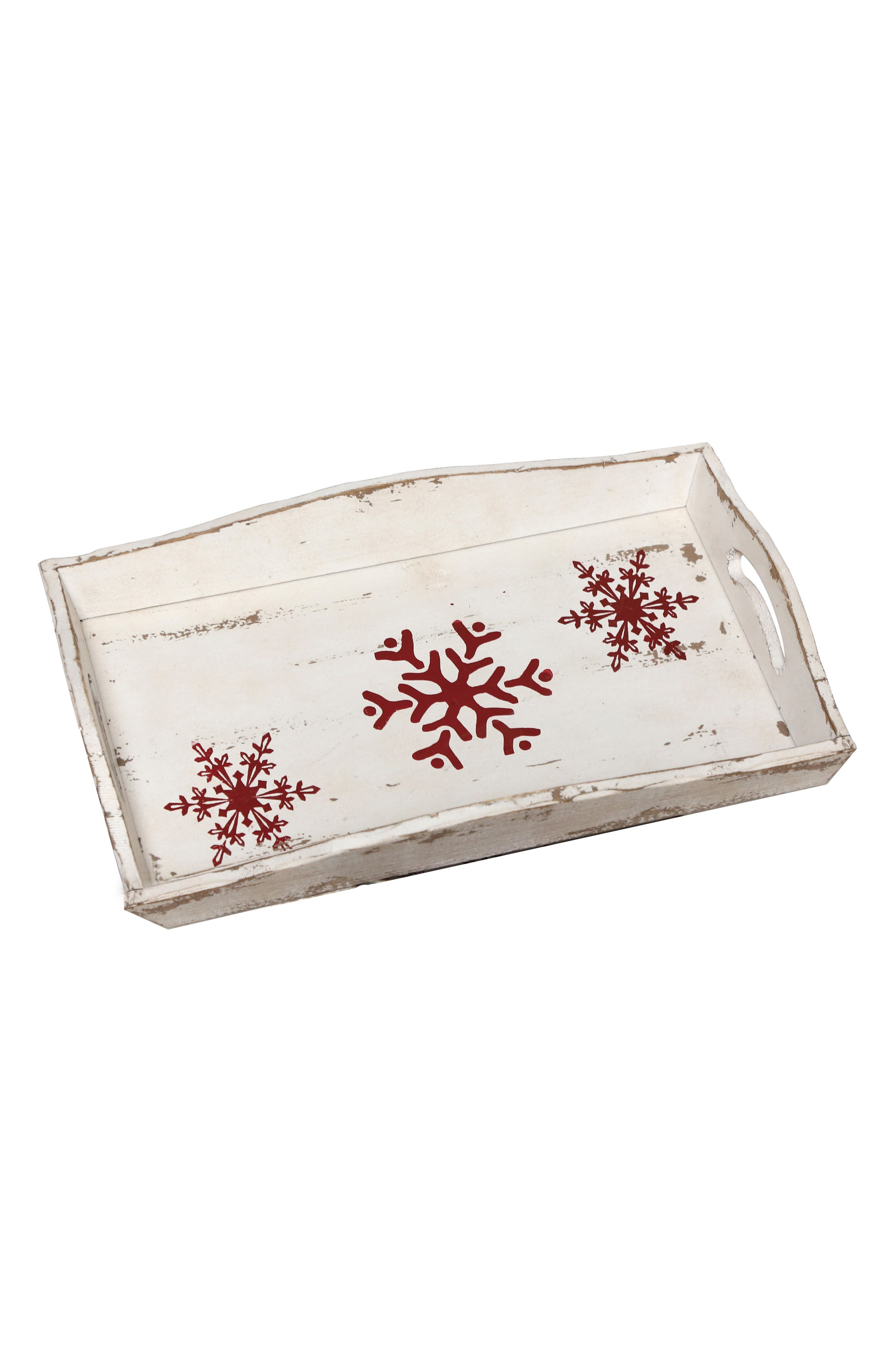 Snowflake Wood Tray,                         Main,                         color, Red