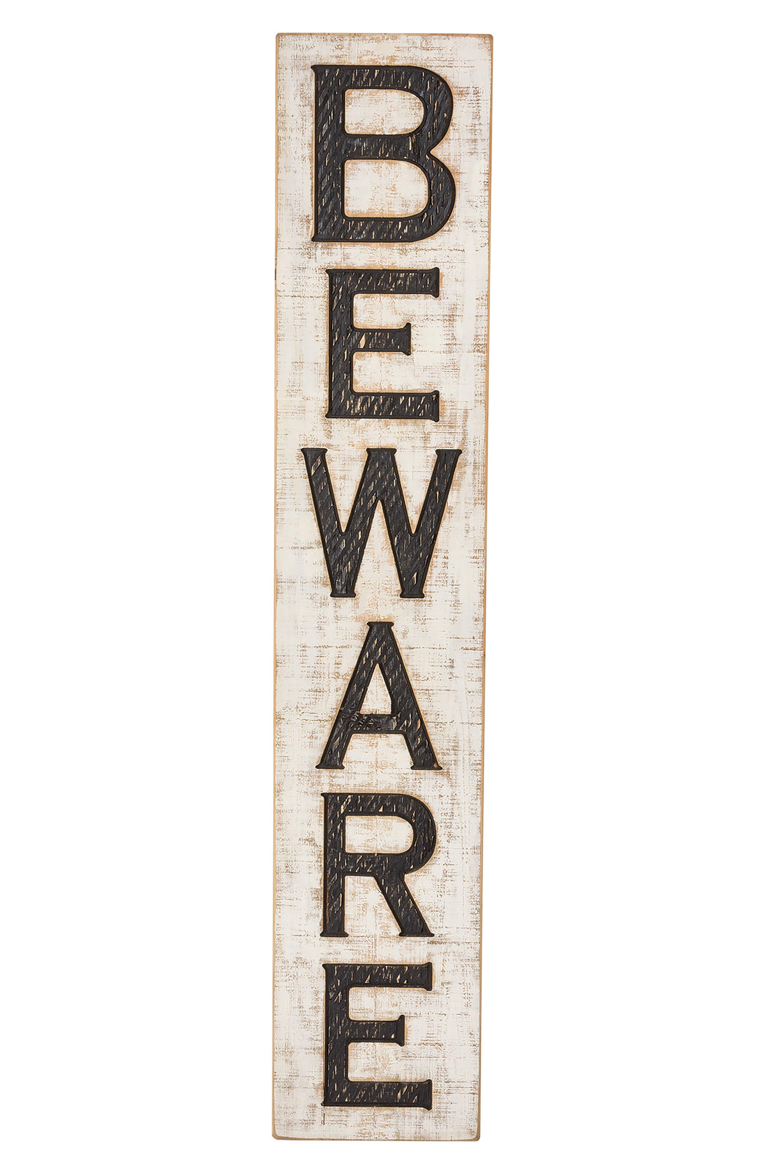 Beware Wood Sign,                         Main,                         color, Black