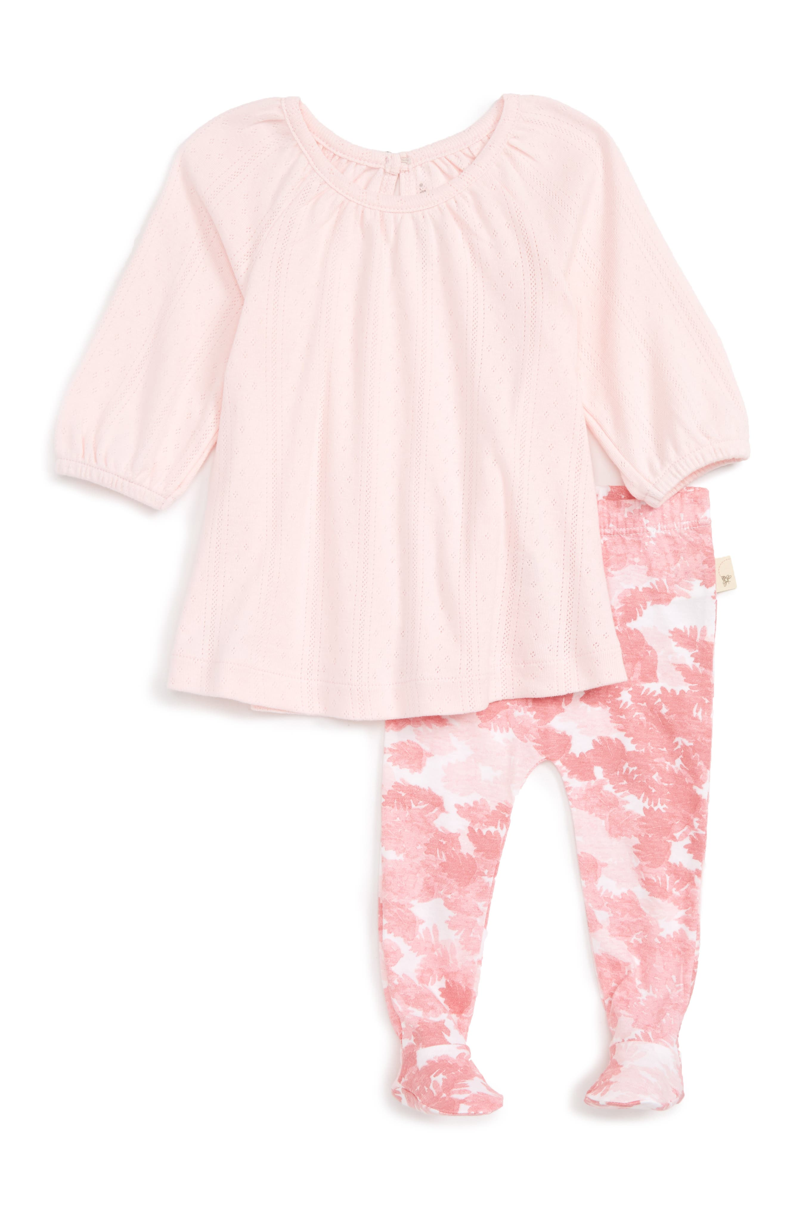 Pointelle Organic Cotton Dress & Footed Leggings Set,                             Main thumbnail 1, color,                             Blossom