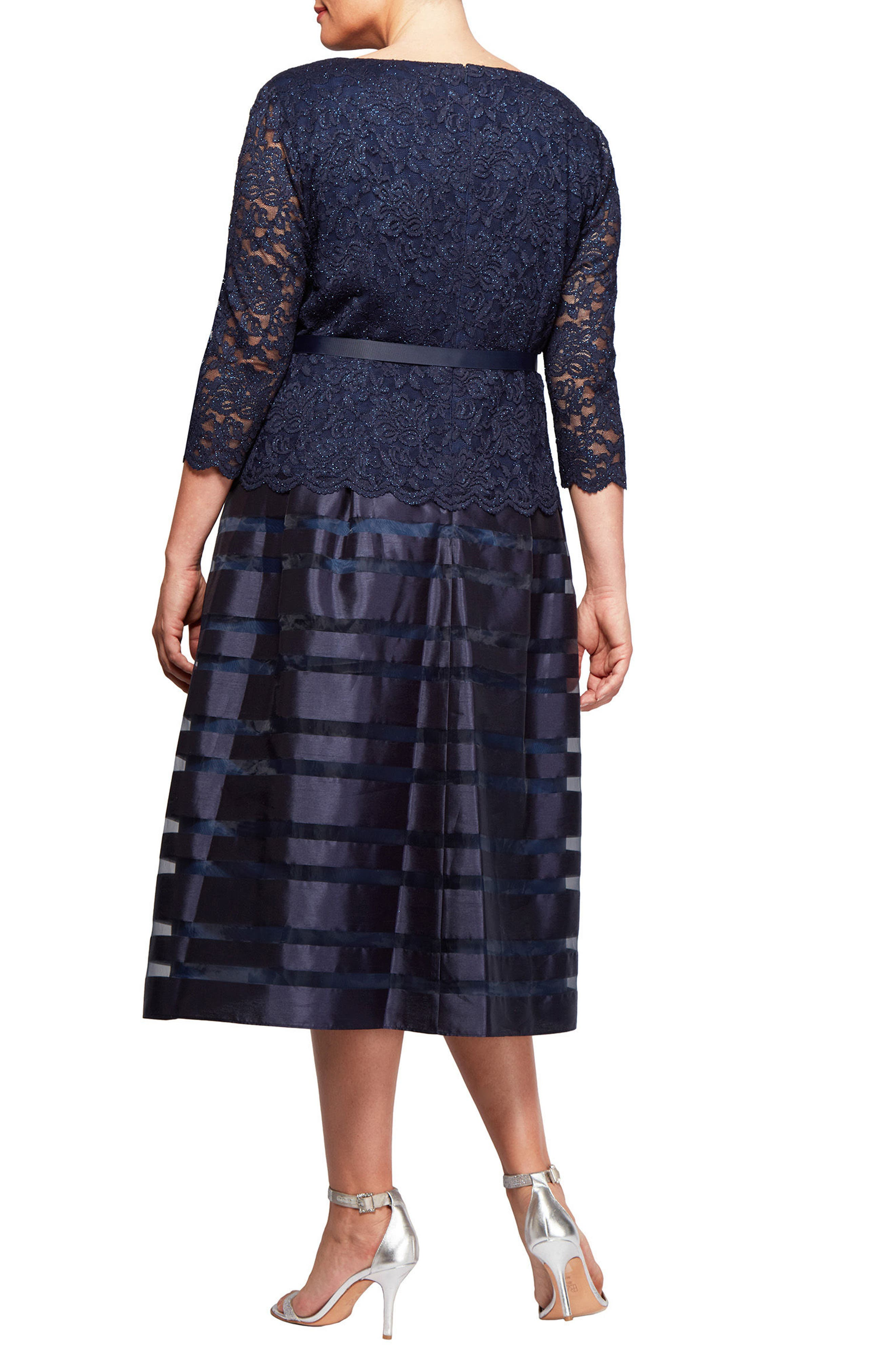 Mock Two-Piece A-Line Midi Dress,                             Alternate thumbnail 2, color,                             Navy