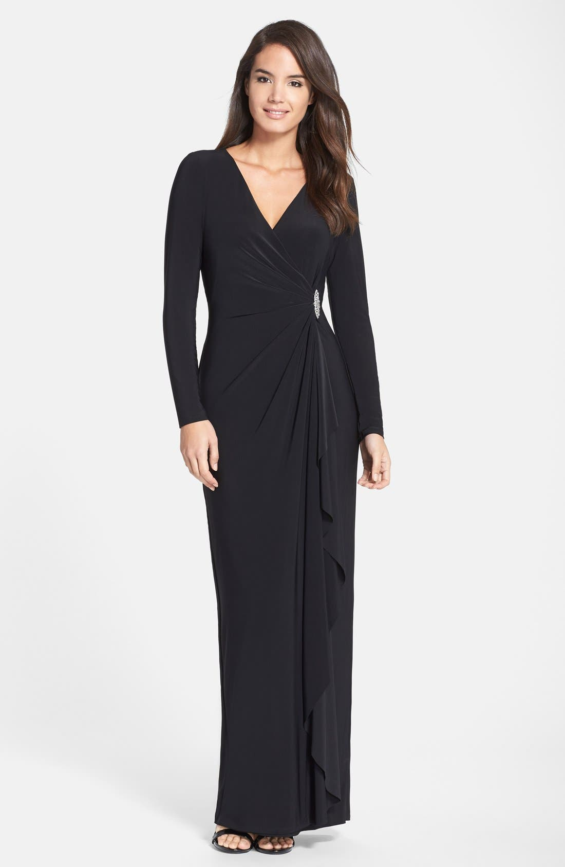 Alternate Image 1 Selected - Lauren Ralph Lauren Embellished Jersey Gown (Regular & Petite)