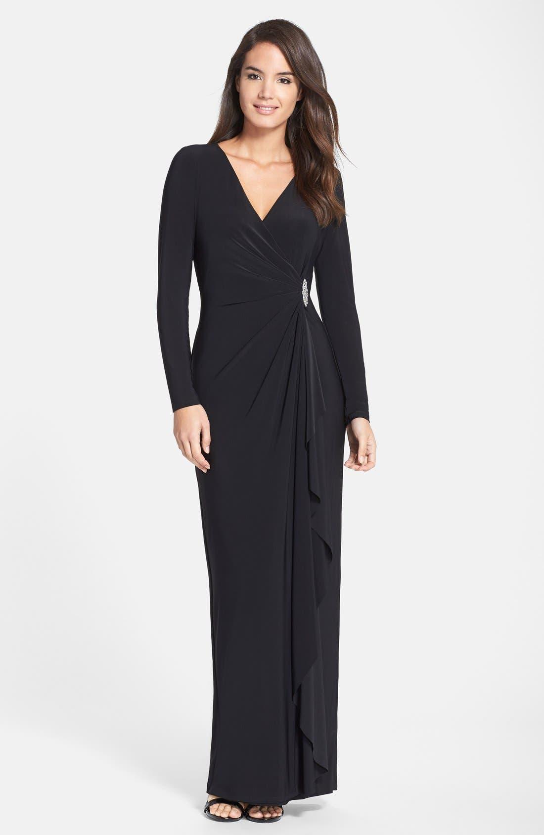 Main Image - Lauren Ralph Lauren Embellished Jersey Gown (Regular & Petite)