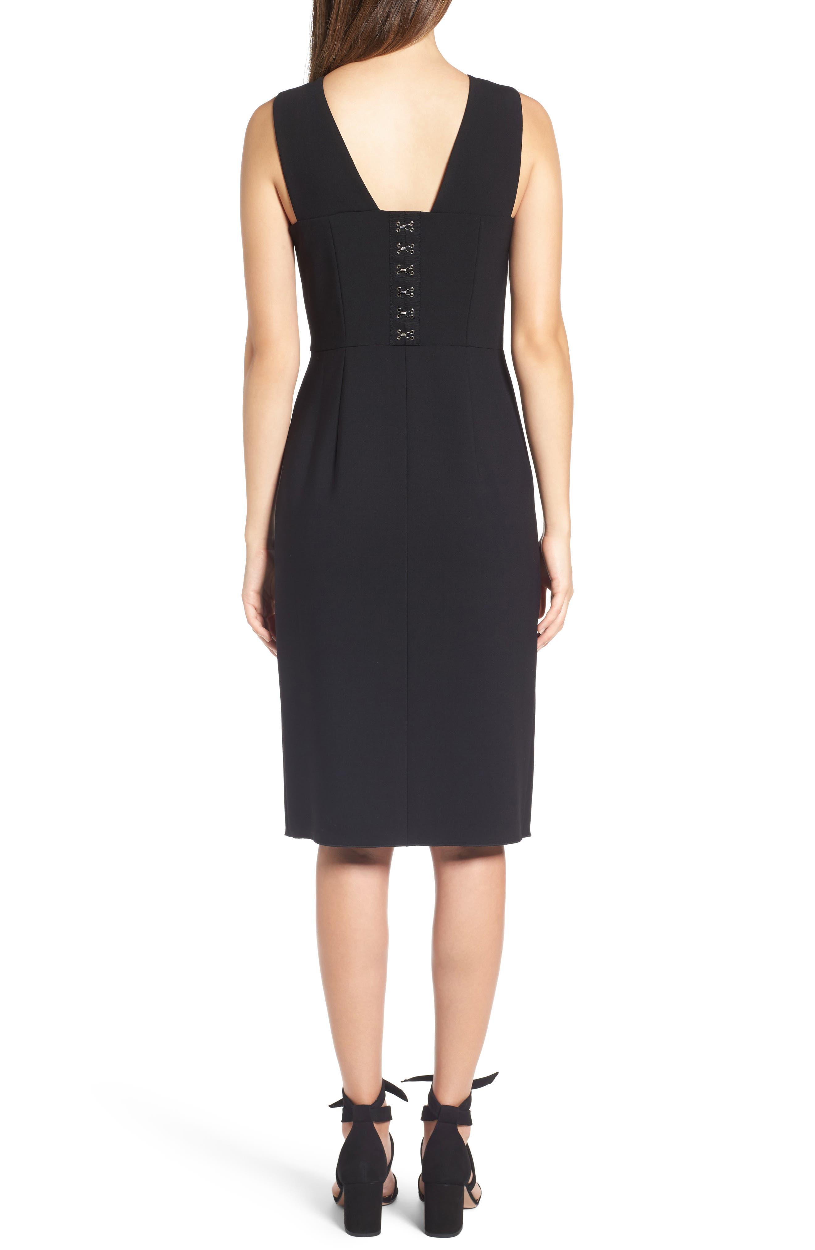 Corset Detail Stretch Wool Sheath Dress,                             Alternate thumbnail 2, color,                             Black