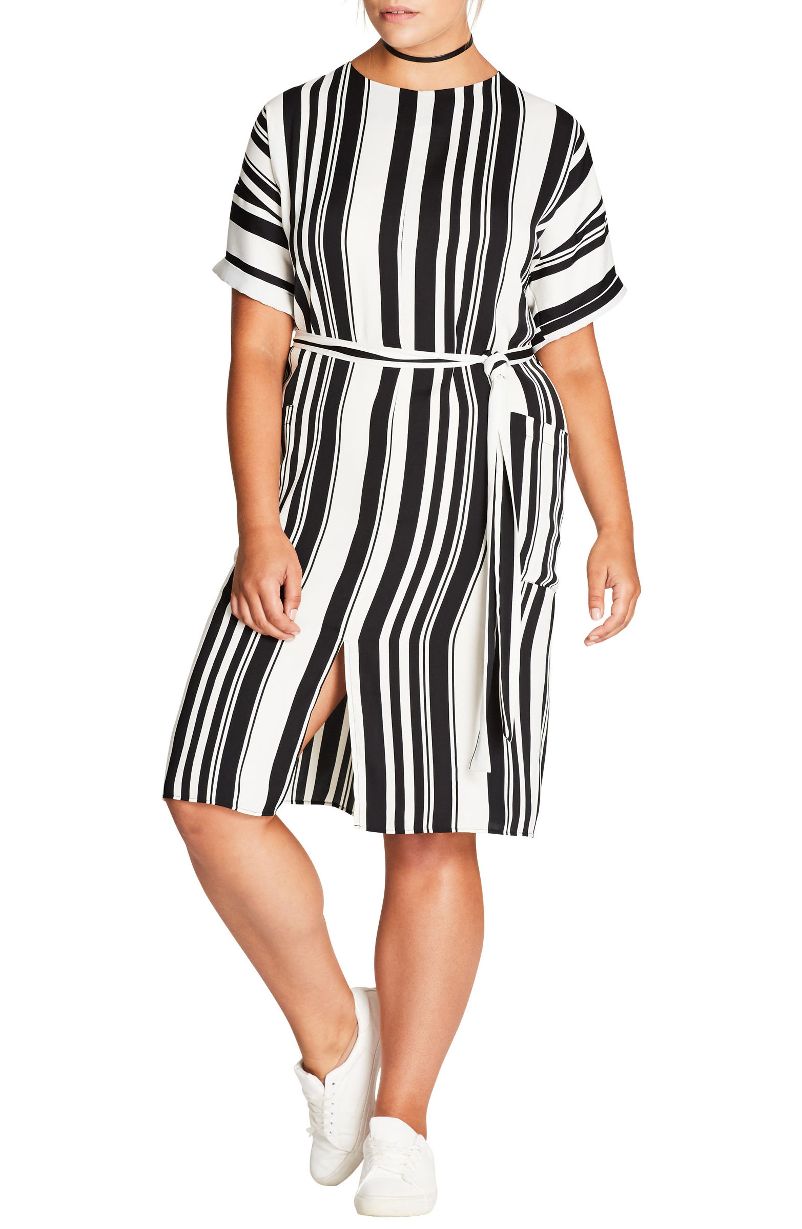 Alternate Image 1 Selected - City Chic Sexy Stripe Dress (Plus Size)