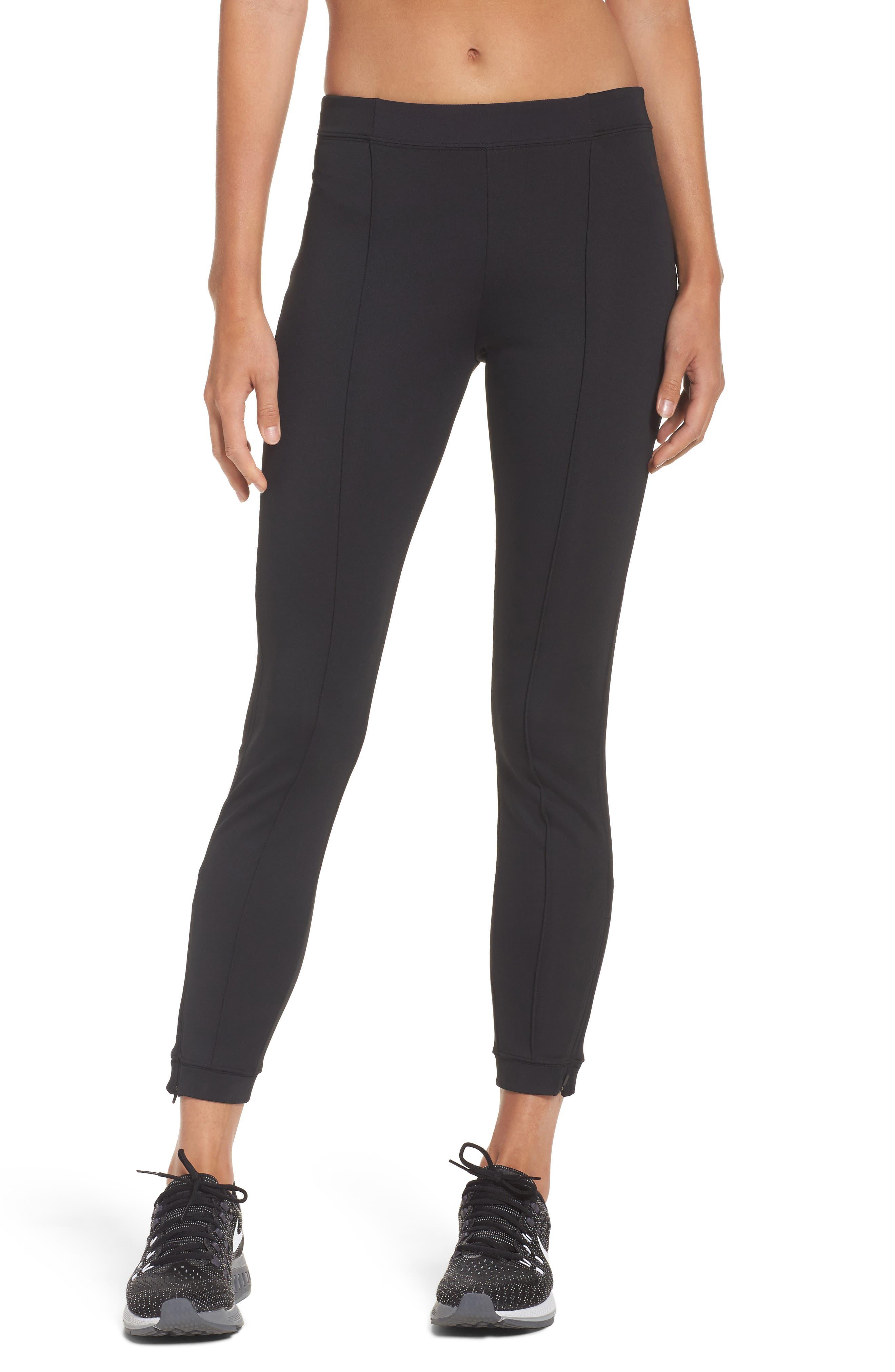 Zip Ankle Leggings,                         Main,                         color, Black/ Black