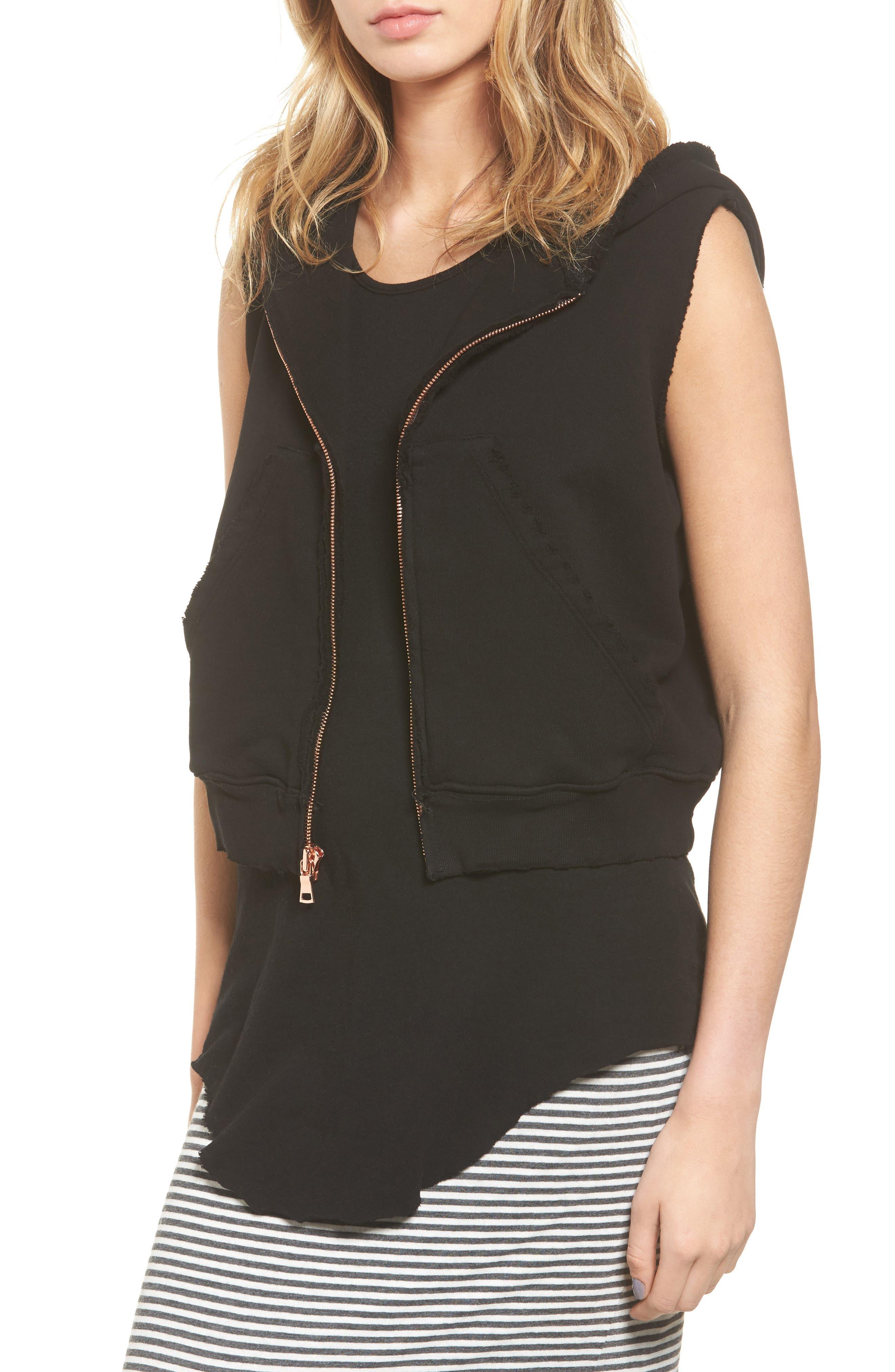 Sleeveless Zip Hoodie,                         Main,                         color, Blackout