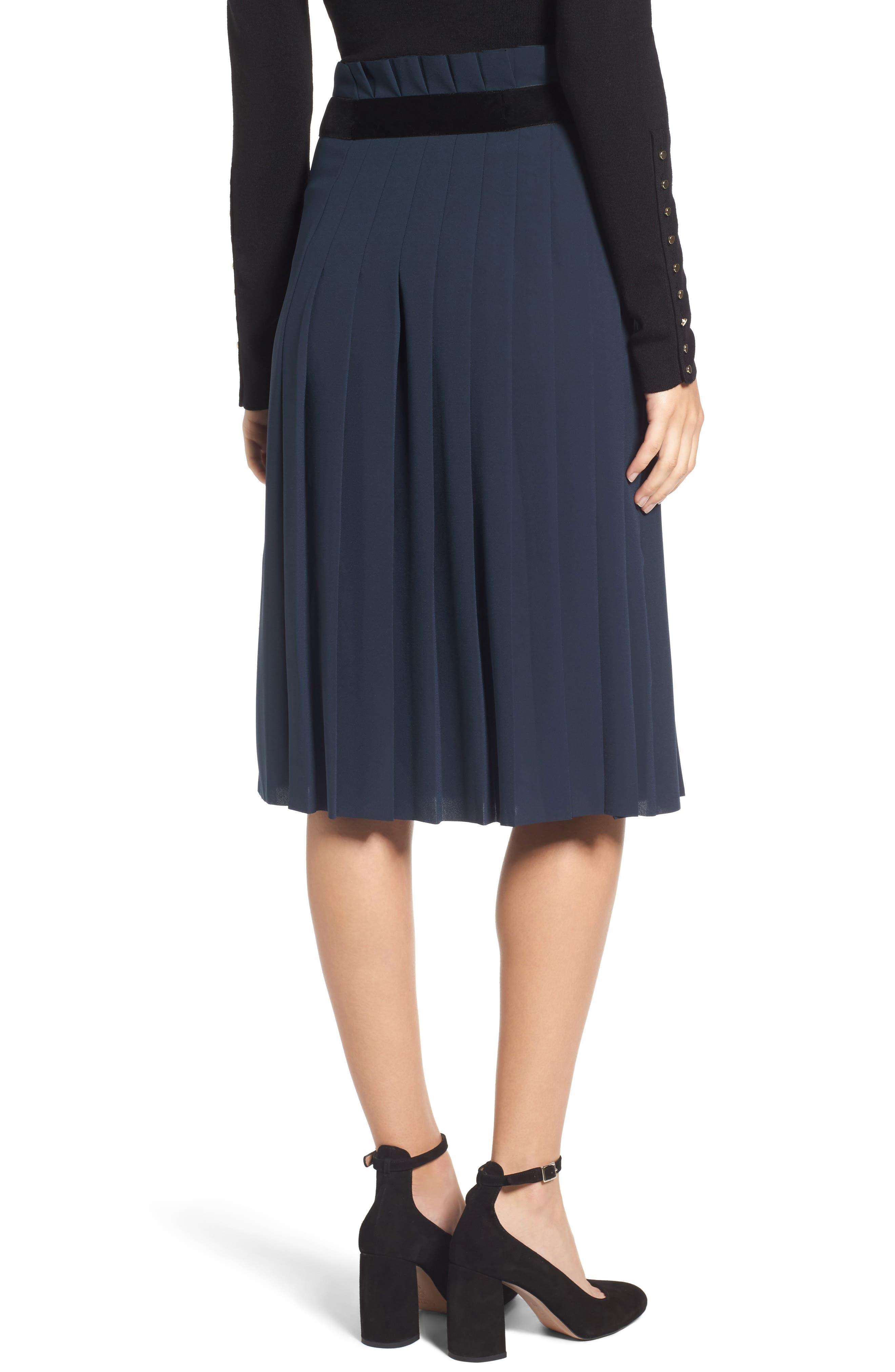 Velvet Trim Pleated Crepe Skirt,                             Alternate thumbnail 2, color,                             Green Scarab