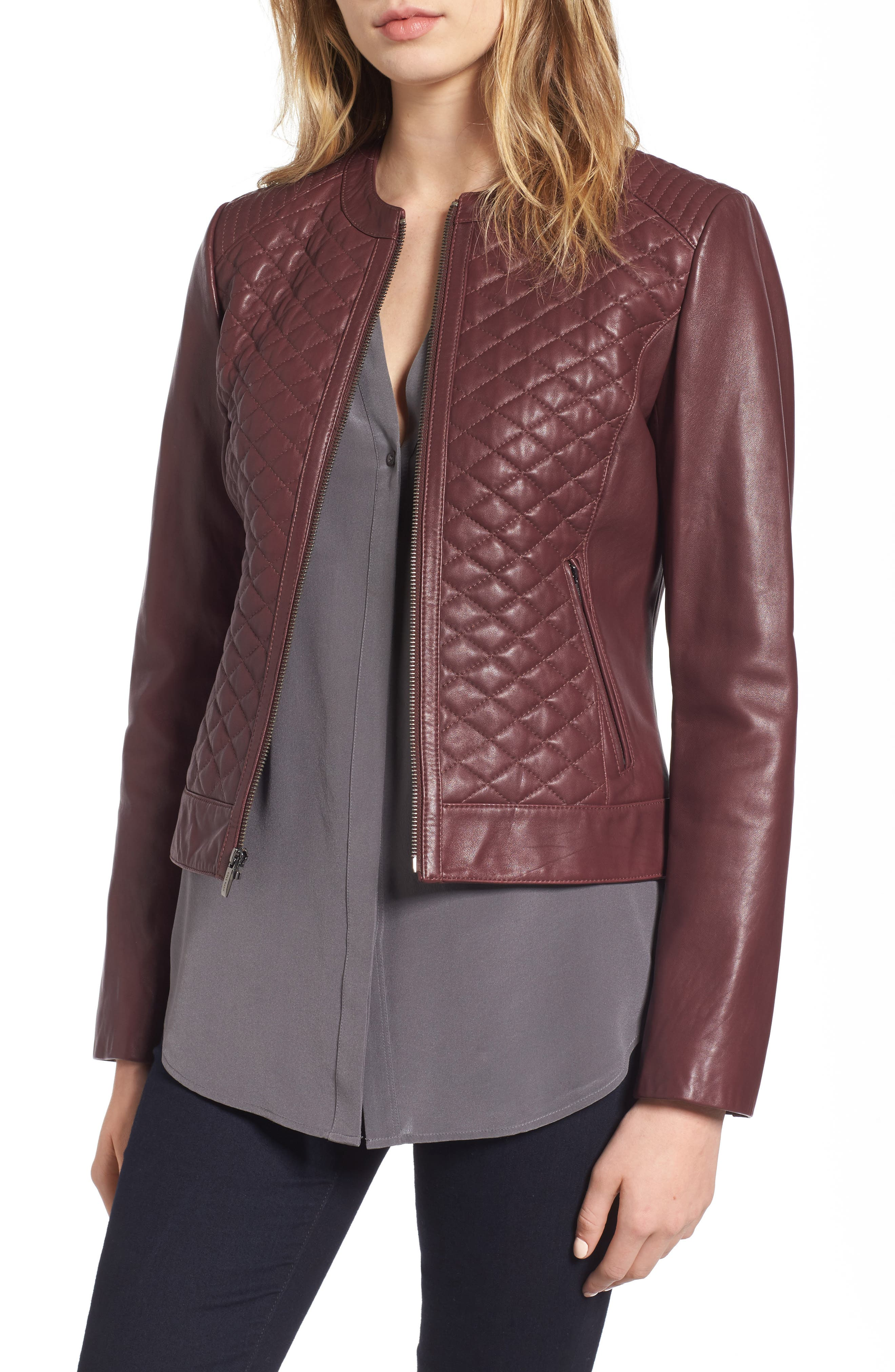 Quilted Leather Moto Jacket,                         Main,                         color, Deep Berry