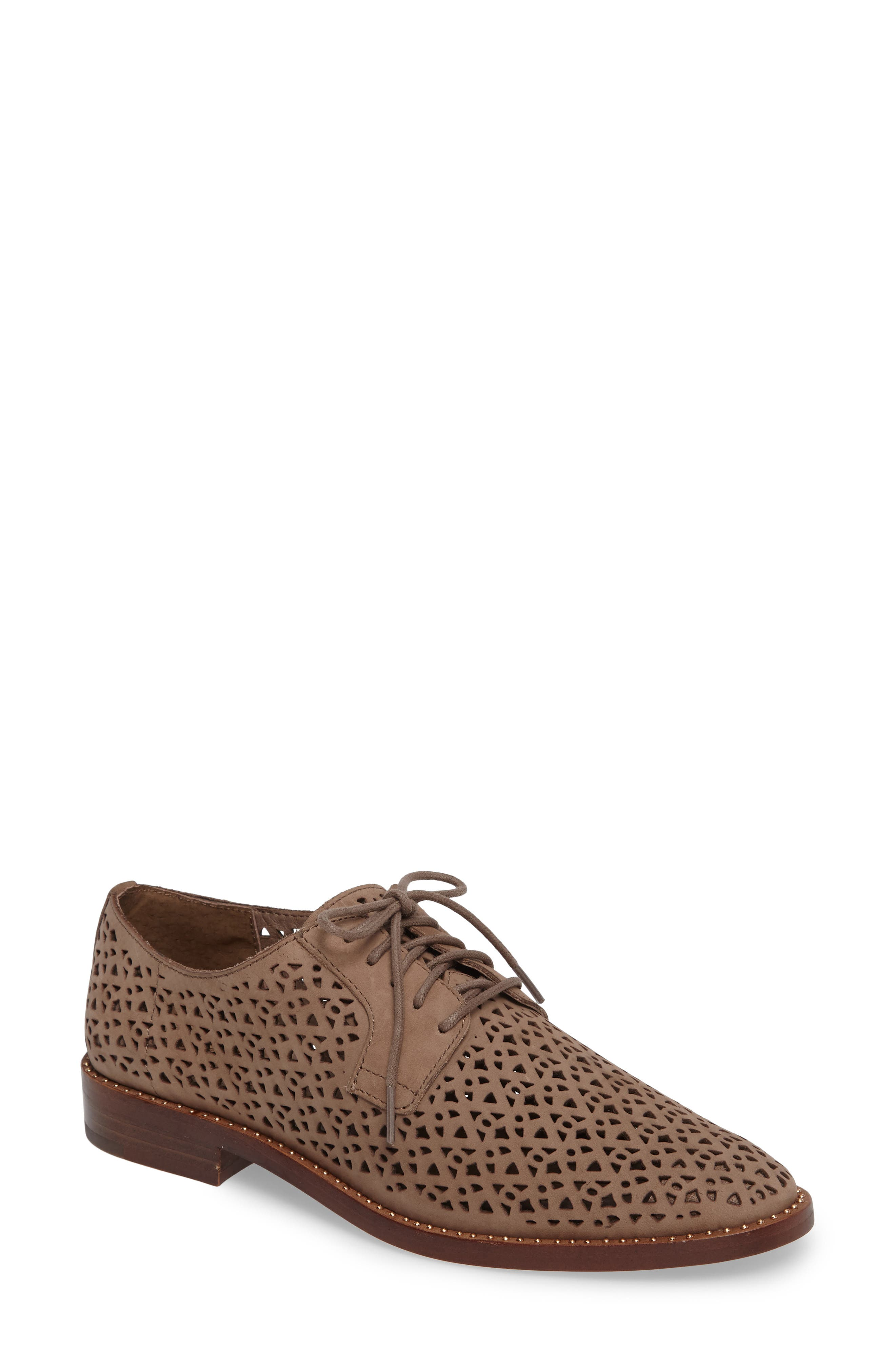 Lesta Geo Perforated Oxford,                             Main thumbnail 1, color,                             French Taupe Suede