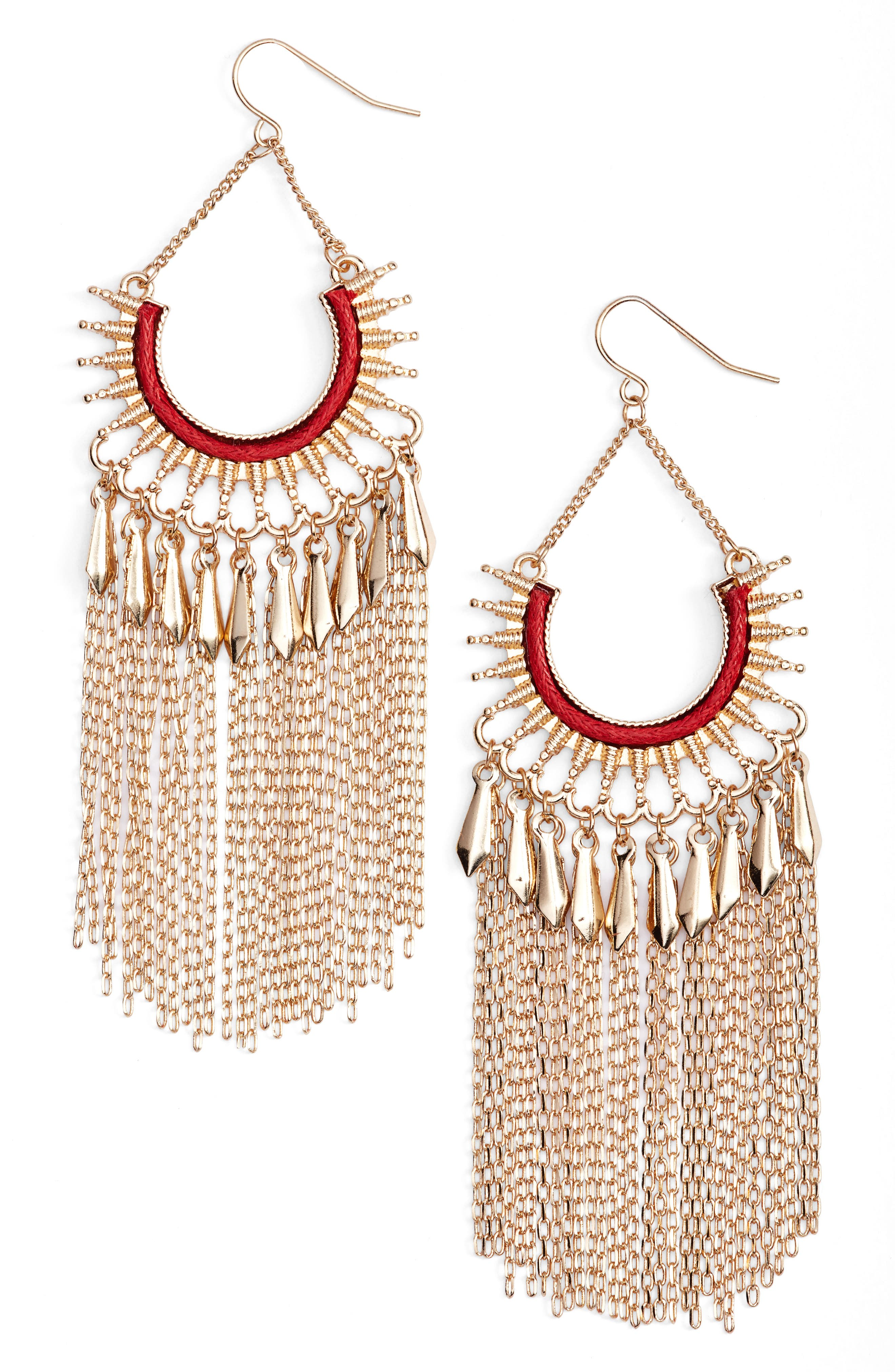 Chain Fringe Earrings,                         Main,                         color, Red