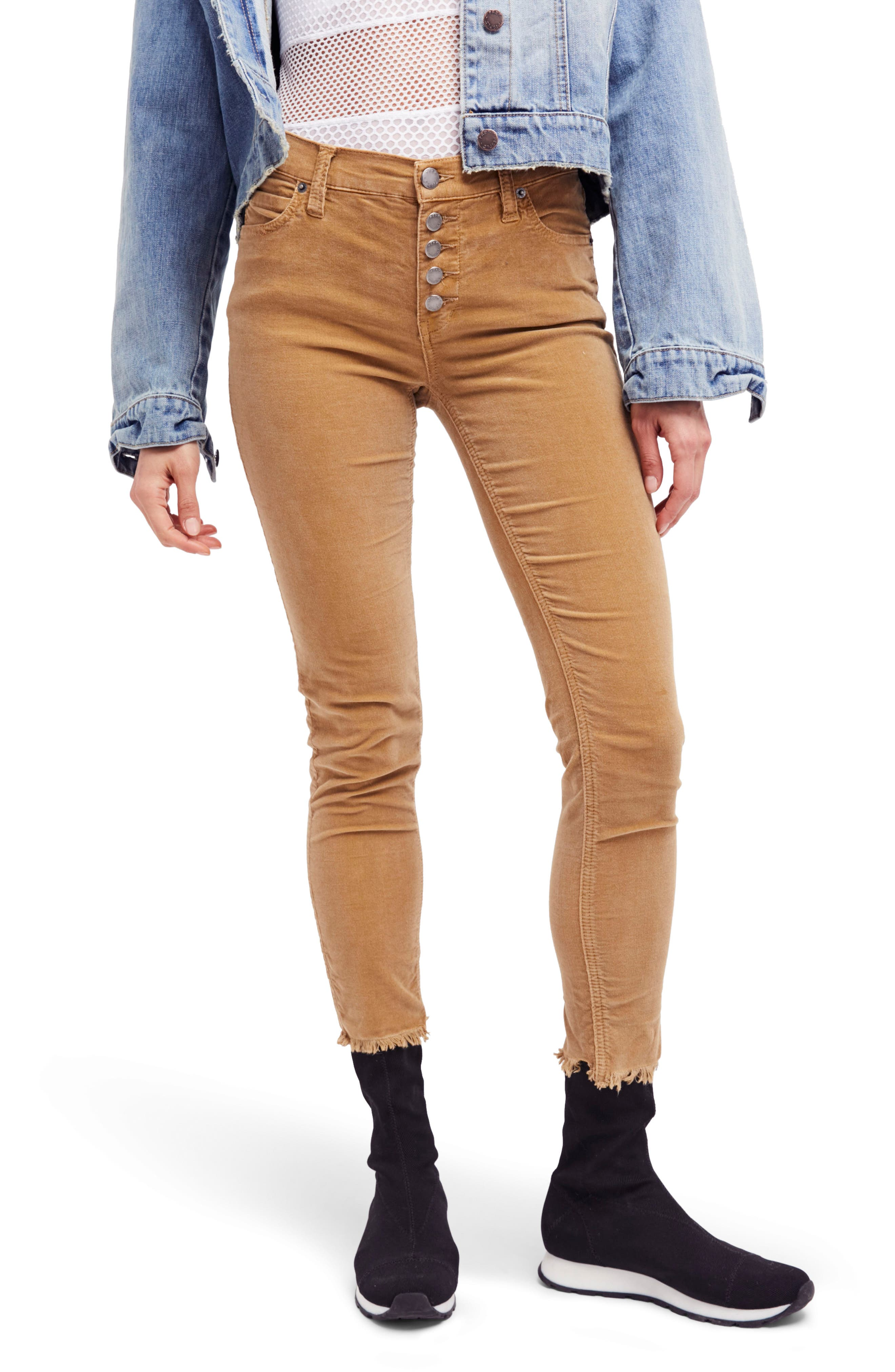 Reagan Crop Skinny Jeans,                         Main,                         color, Mustard