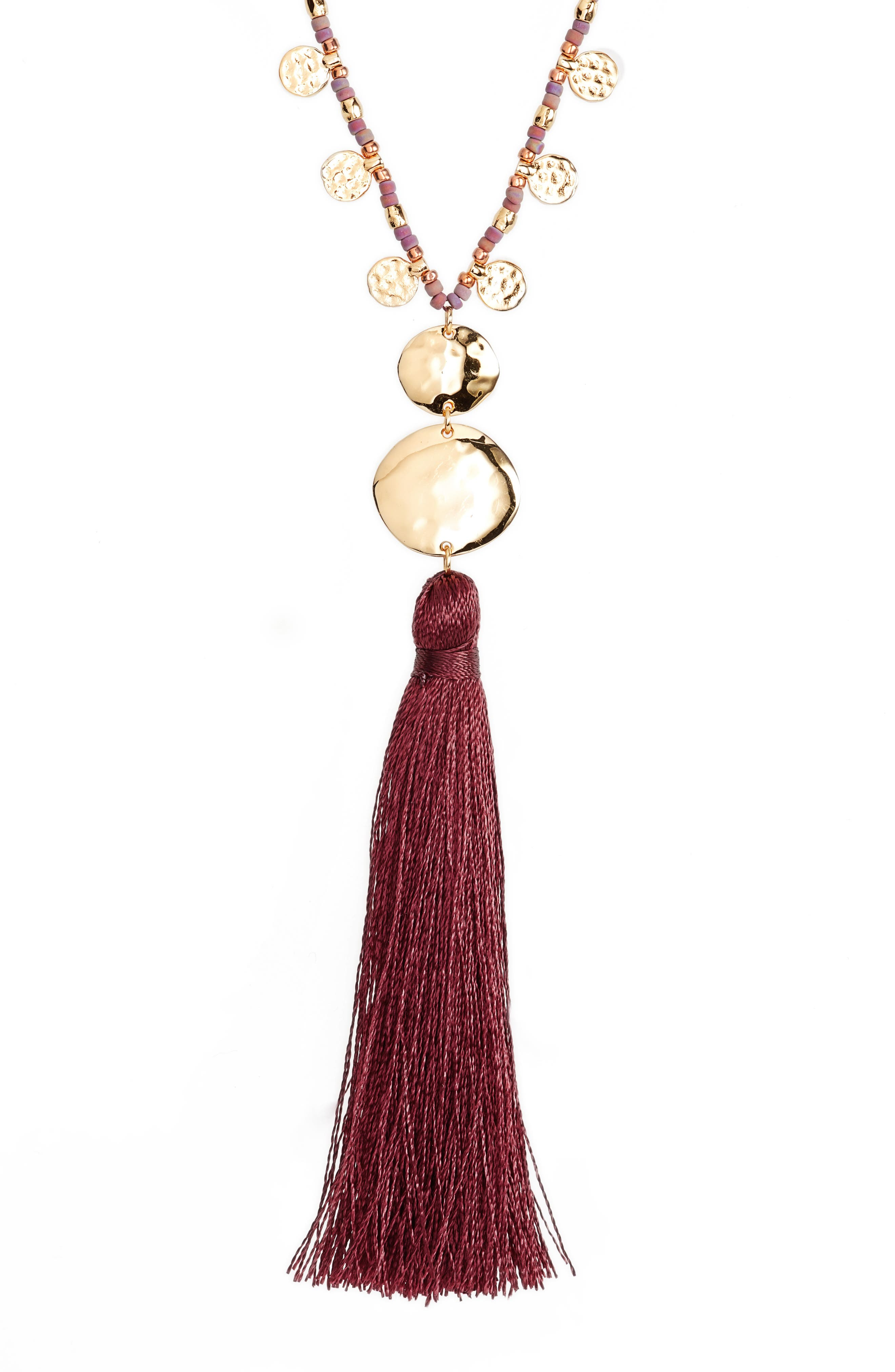 Leucadia Tassel Y-Necklace,                         Main,                         color, Wine / Gold