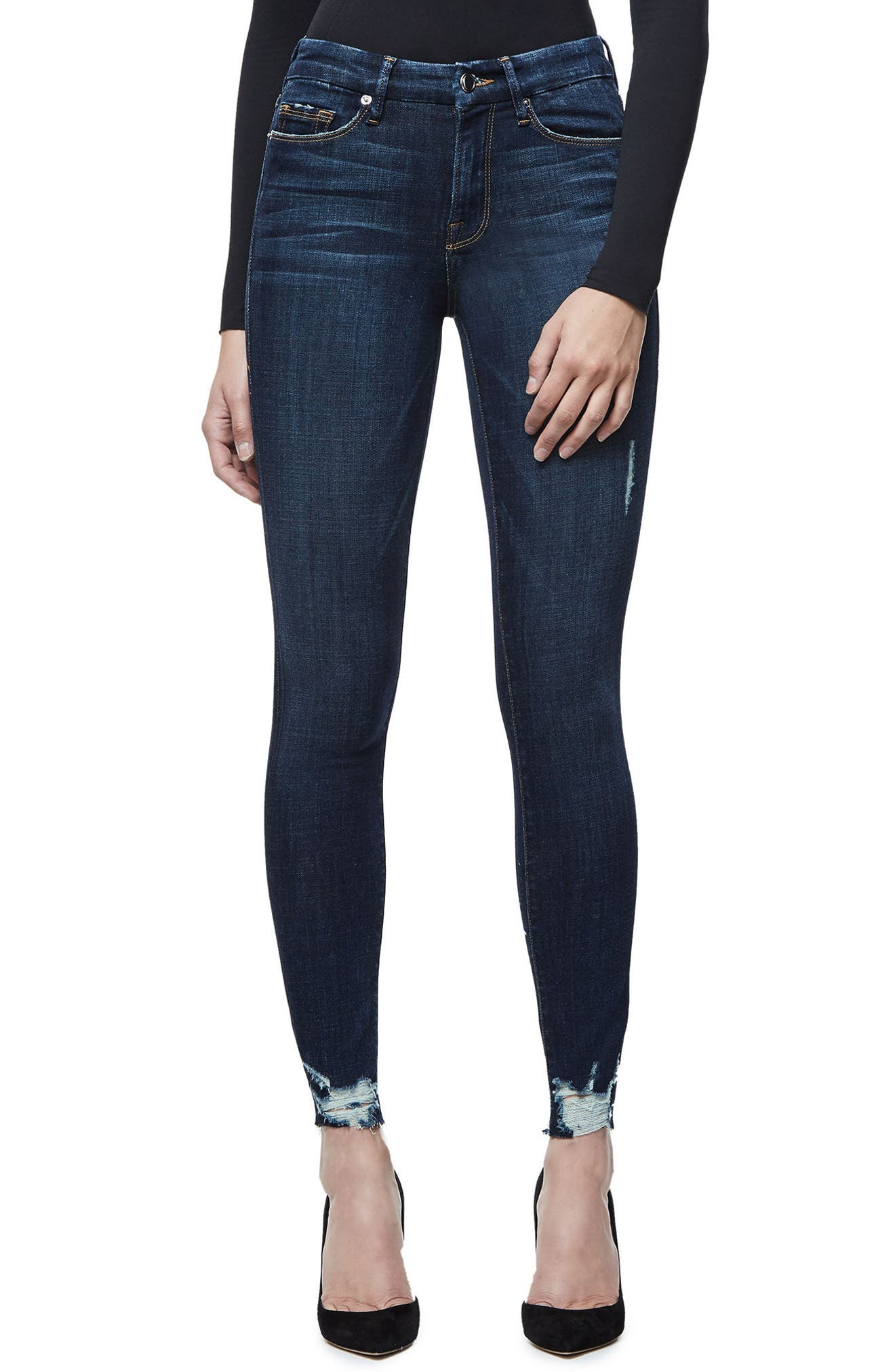 Good American Good Legs Raw Hem Skinny Jeans (Blue 080) (Extended Sizes)