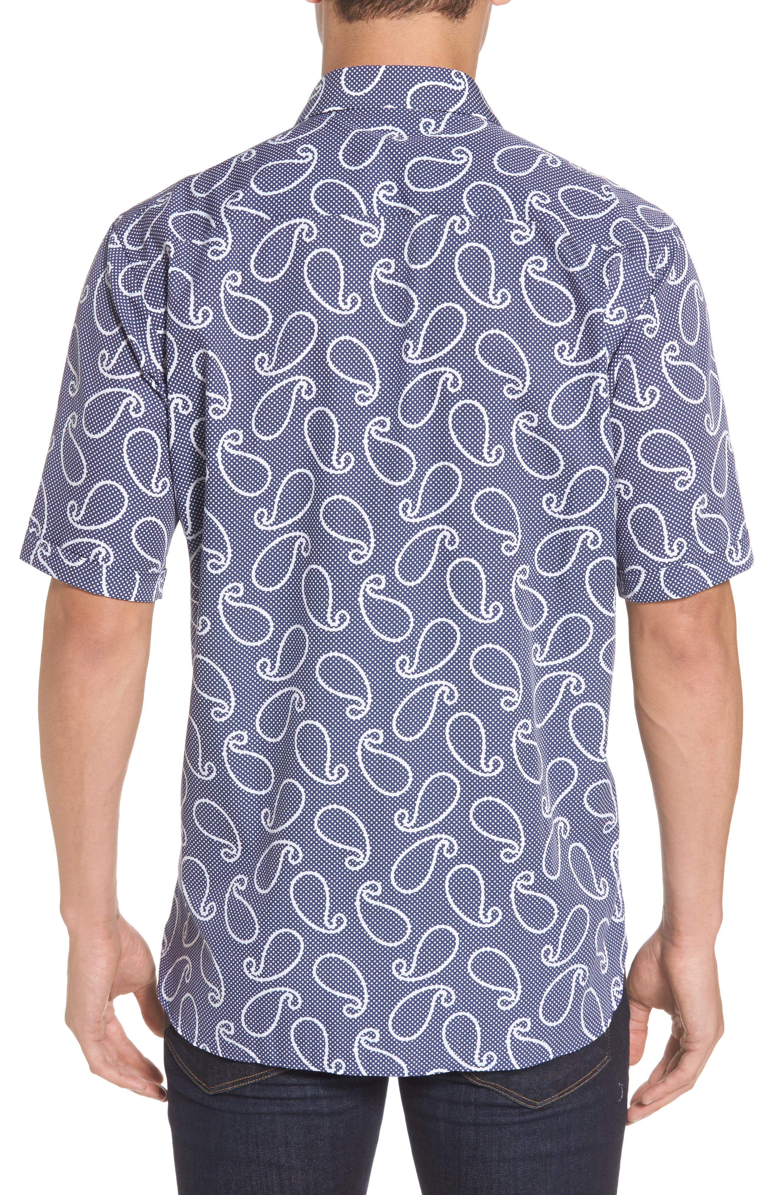 Classic Fit Print Short Sleeve Sport Shirt,                             Alternate thumbnail 2, color,                             Navy