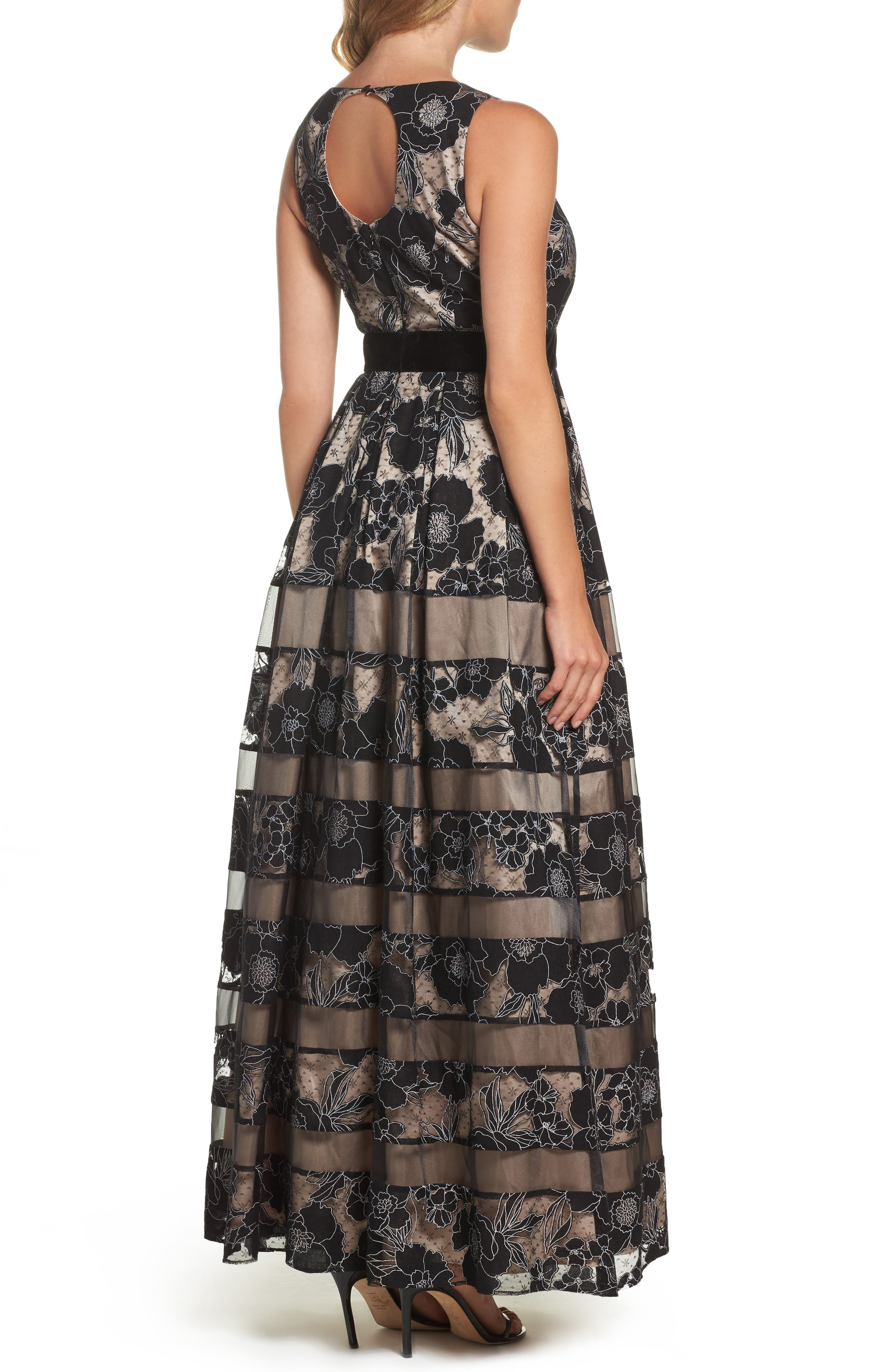 Alternate Image 2  - Eliza J Inset Waist Panel Lace Ballgown (Regular & Petite)