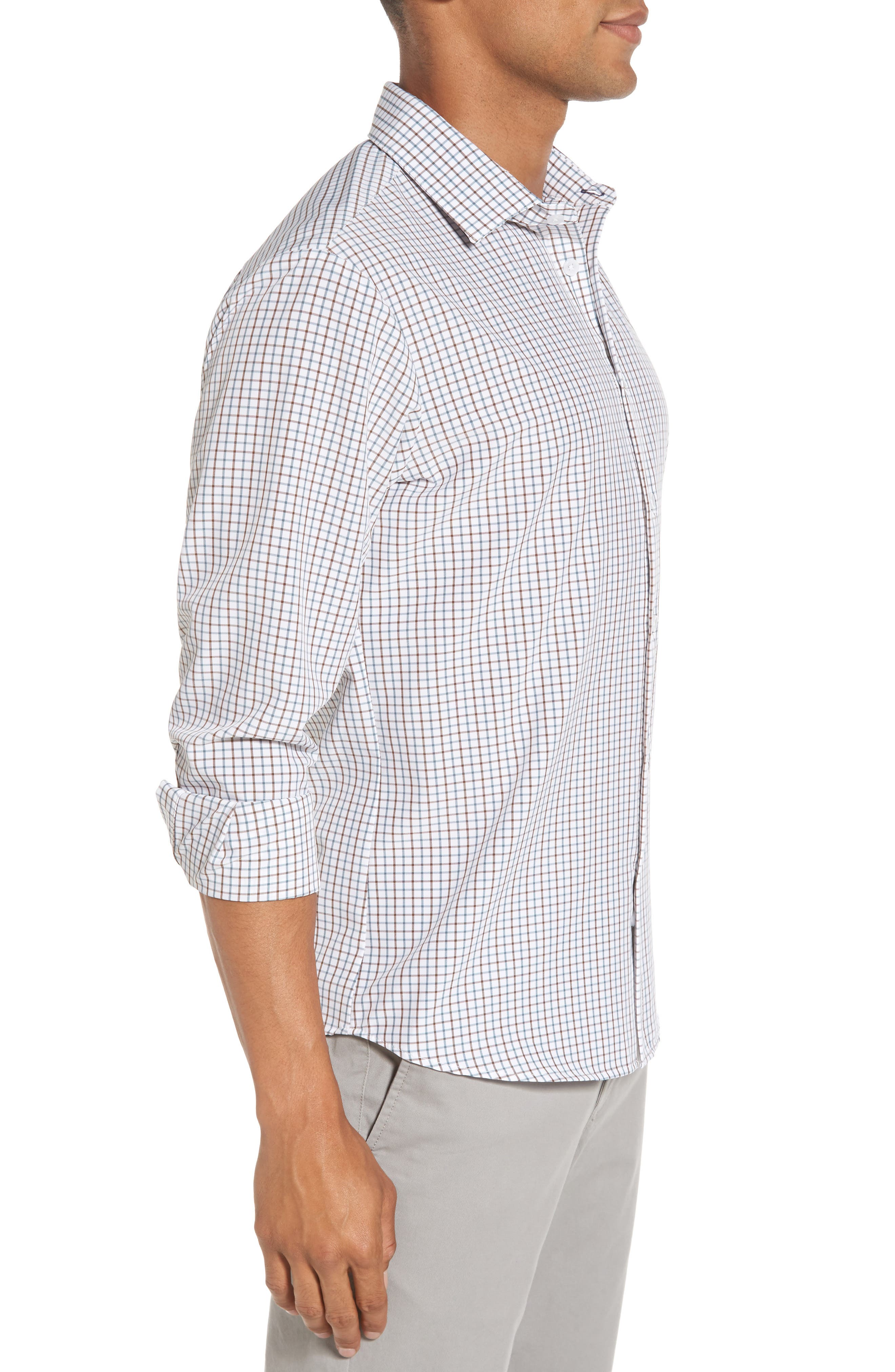 Nolan Slim Fit Tattersall Performance Sport Shirt,                             Alternate thumbnail 3, color,                             White