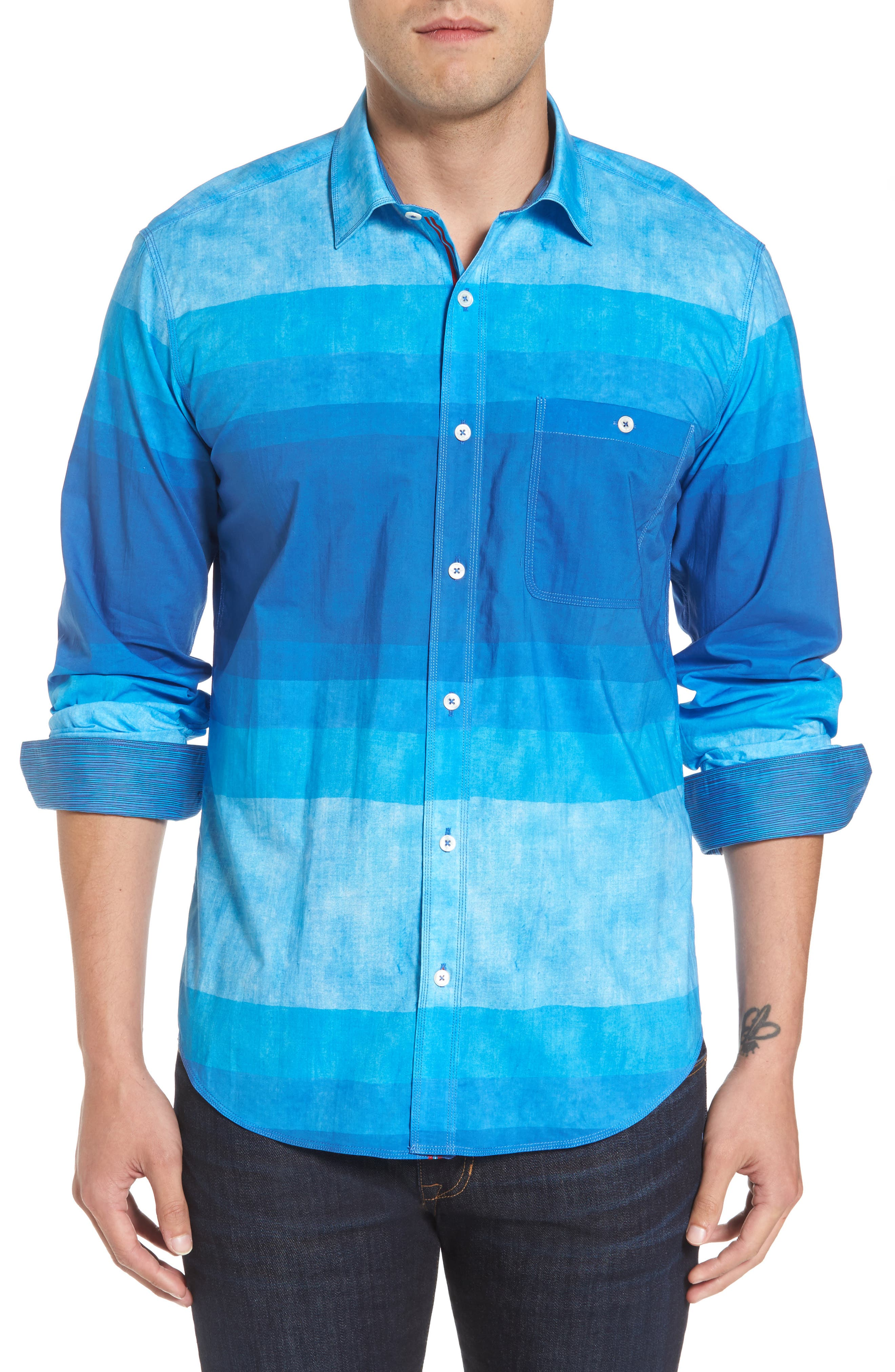 Alternate Image 1 Selected - Bugatchi Shaped Fit Colorblock Sport Shirt