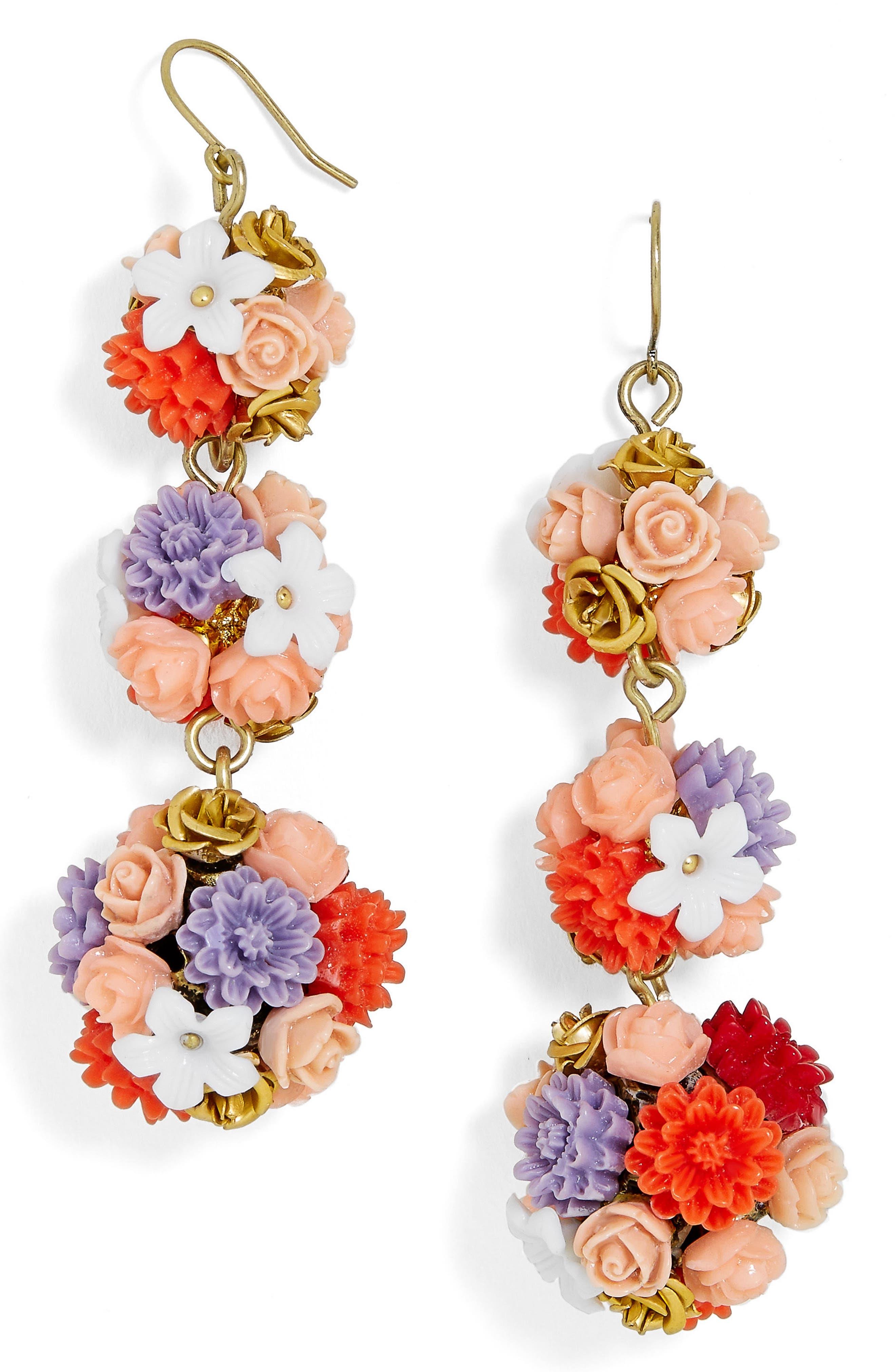 Flora Drop Earrings,                             Main thumbnail 1, color,                             Multi/ Pink