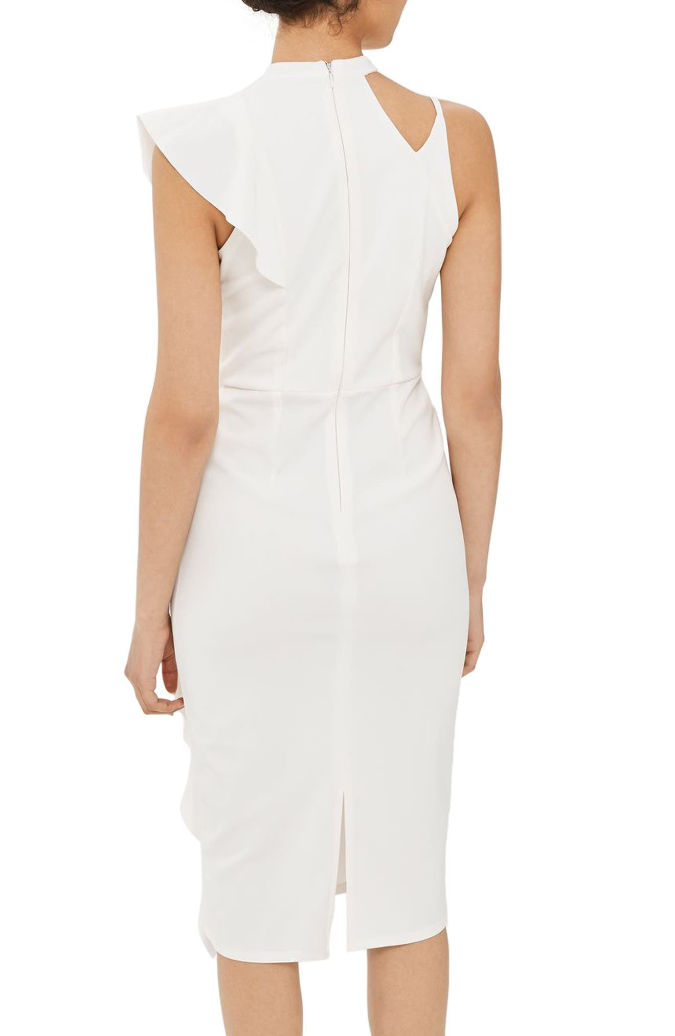 Alternate Image 2  - Topshop Asymmetrical Ruffle Midi Dress