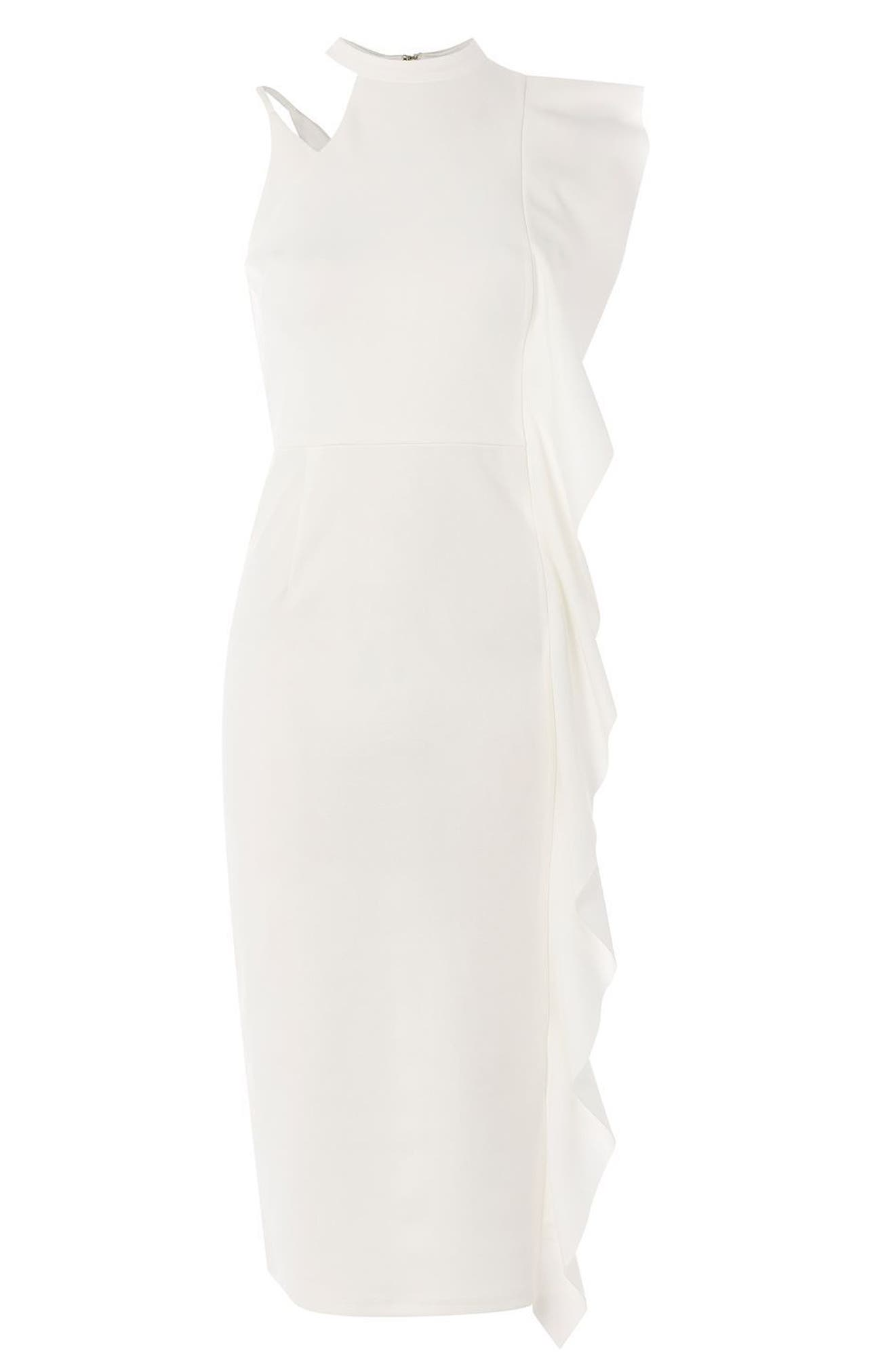Alternate Image 3  - Topshop Asymmetrical Ruffle Midi Dress