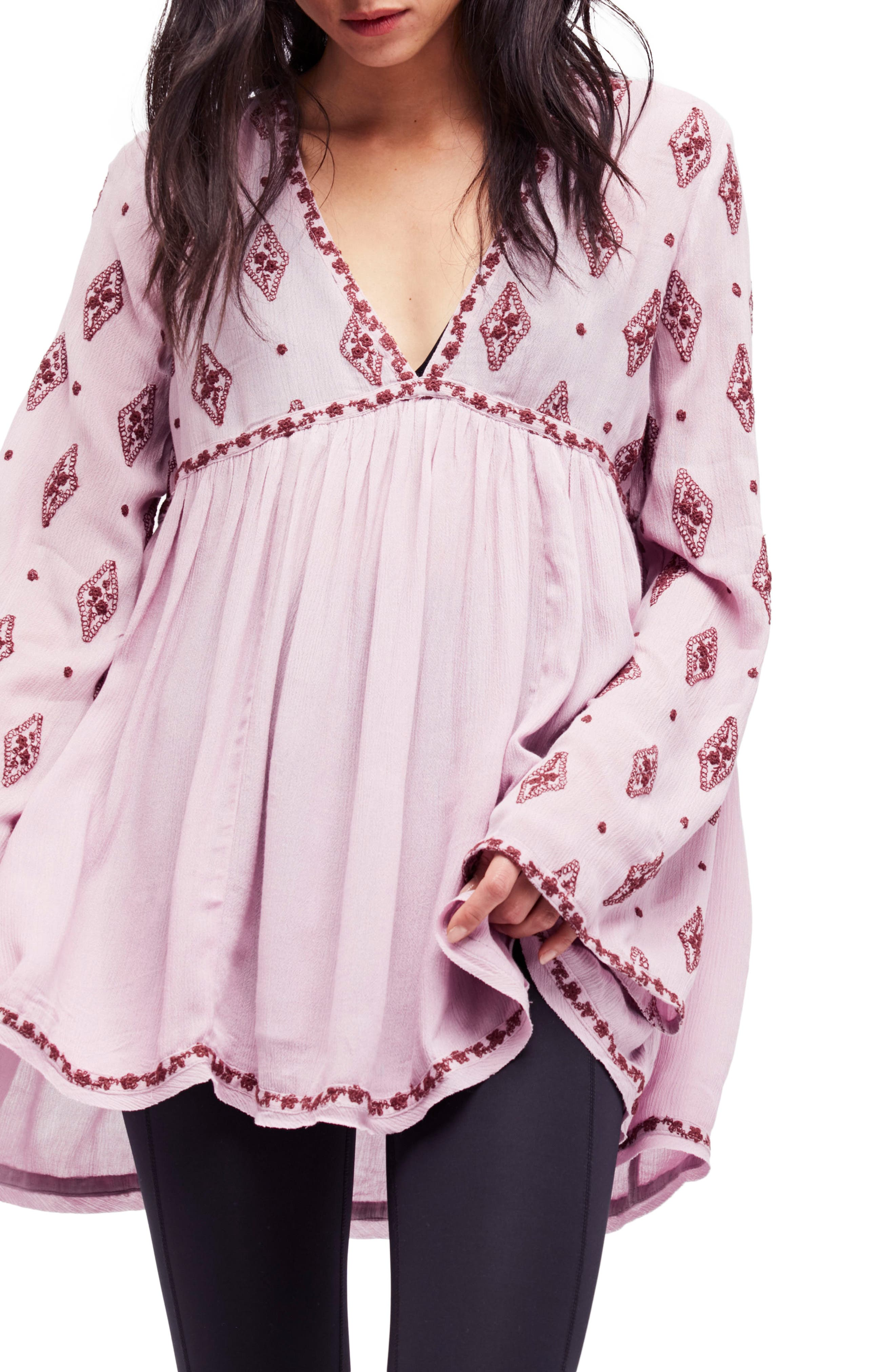 Embroidered Bell Sleeve Top,                         Main,                         color, Plum