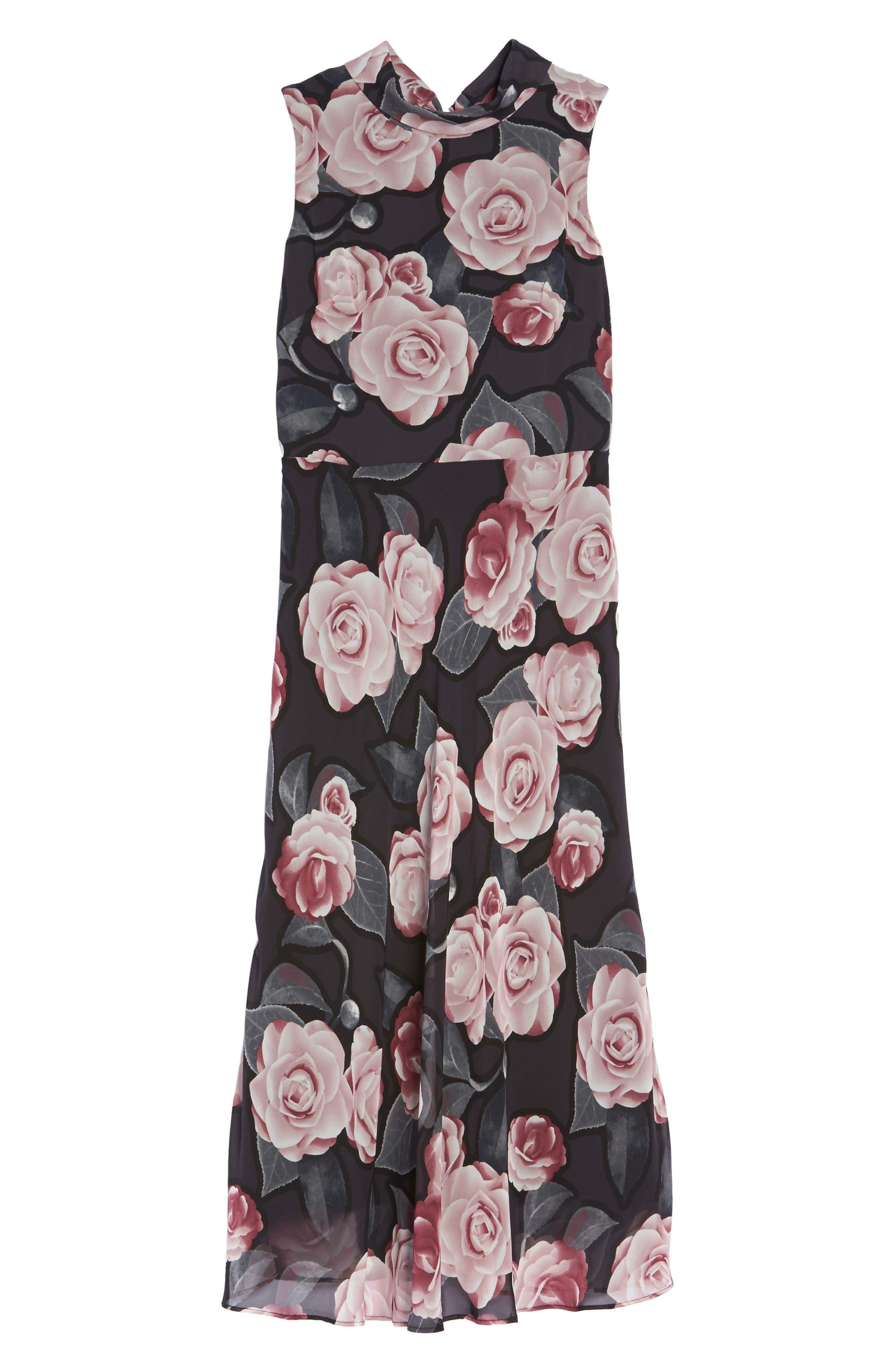 Tossed Rosewood Midi Dress,                             Alternate thumbnail 6, color,                             Rosewood Grey