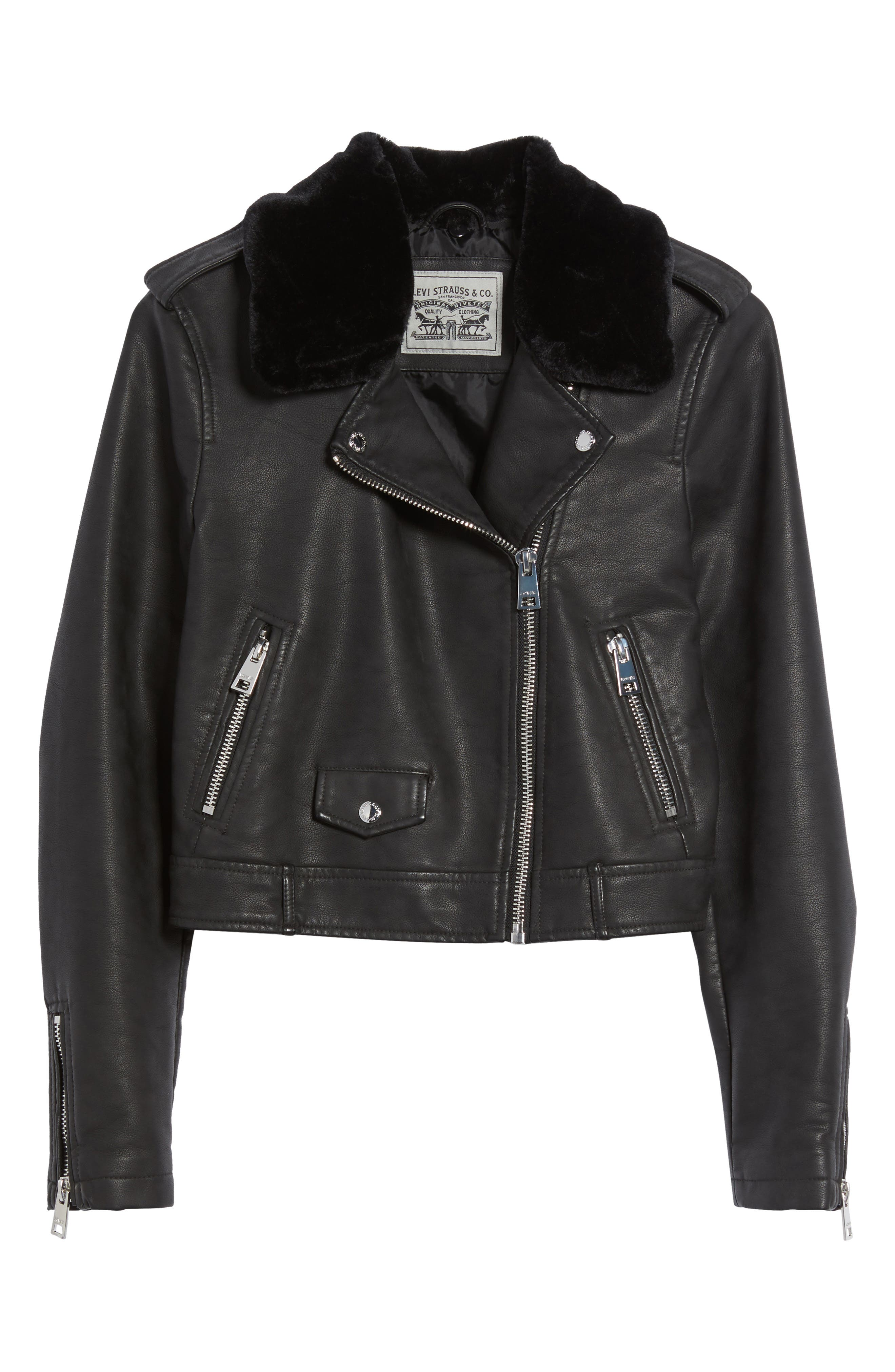 Levis<sup>®</sup> Sherpa Faux Leather Moto Jacket with Faux Fur Collar,                             Alternate thumbnail 6, color,                             Black