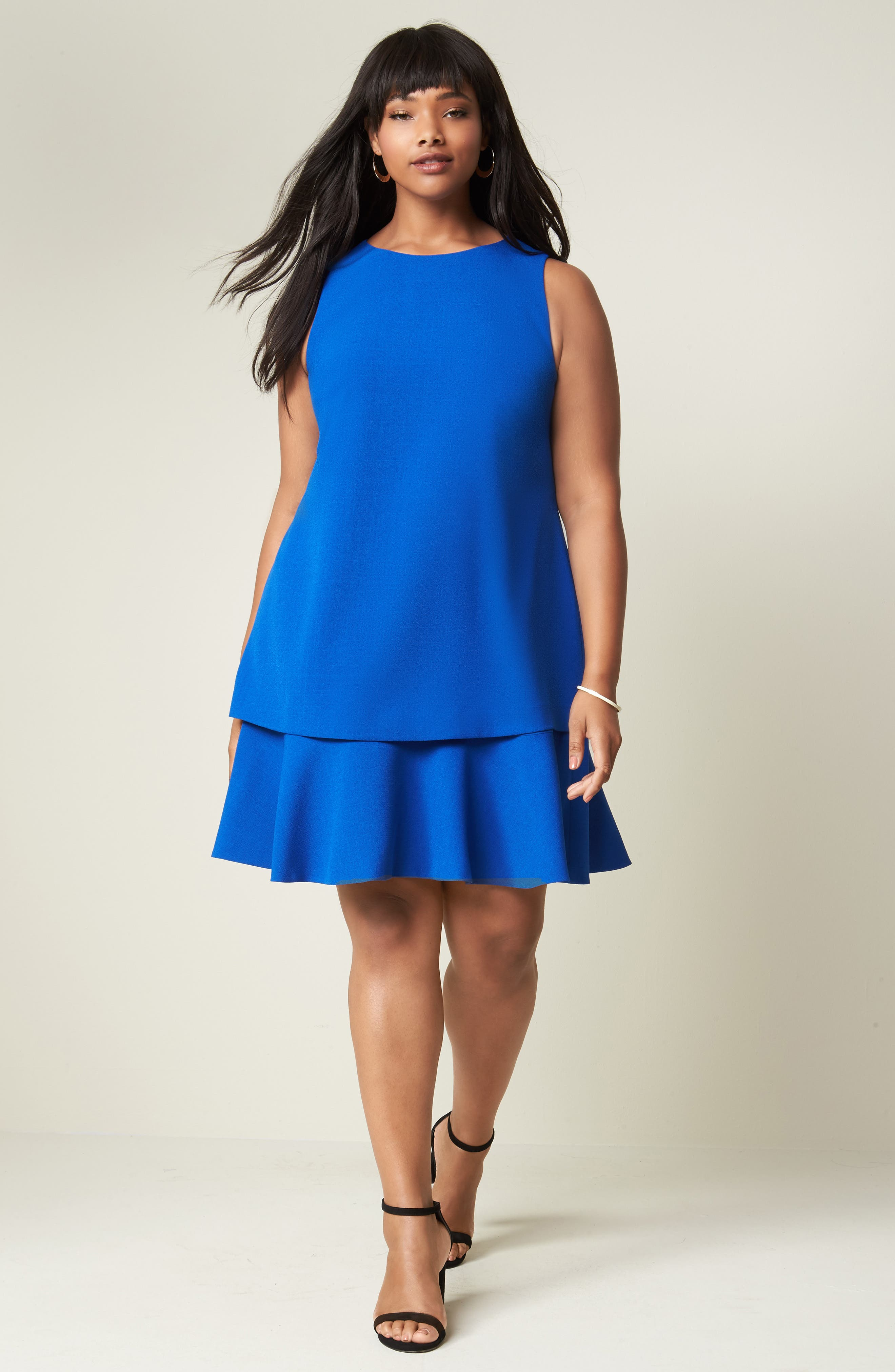 Alternate Image 2  - Eliza J Tiered Drop Waist A-Line Dress (Plus Size)