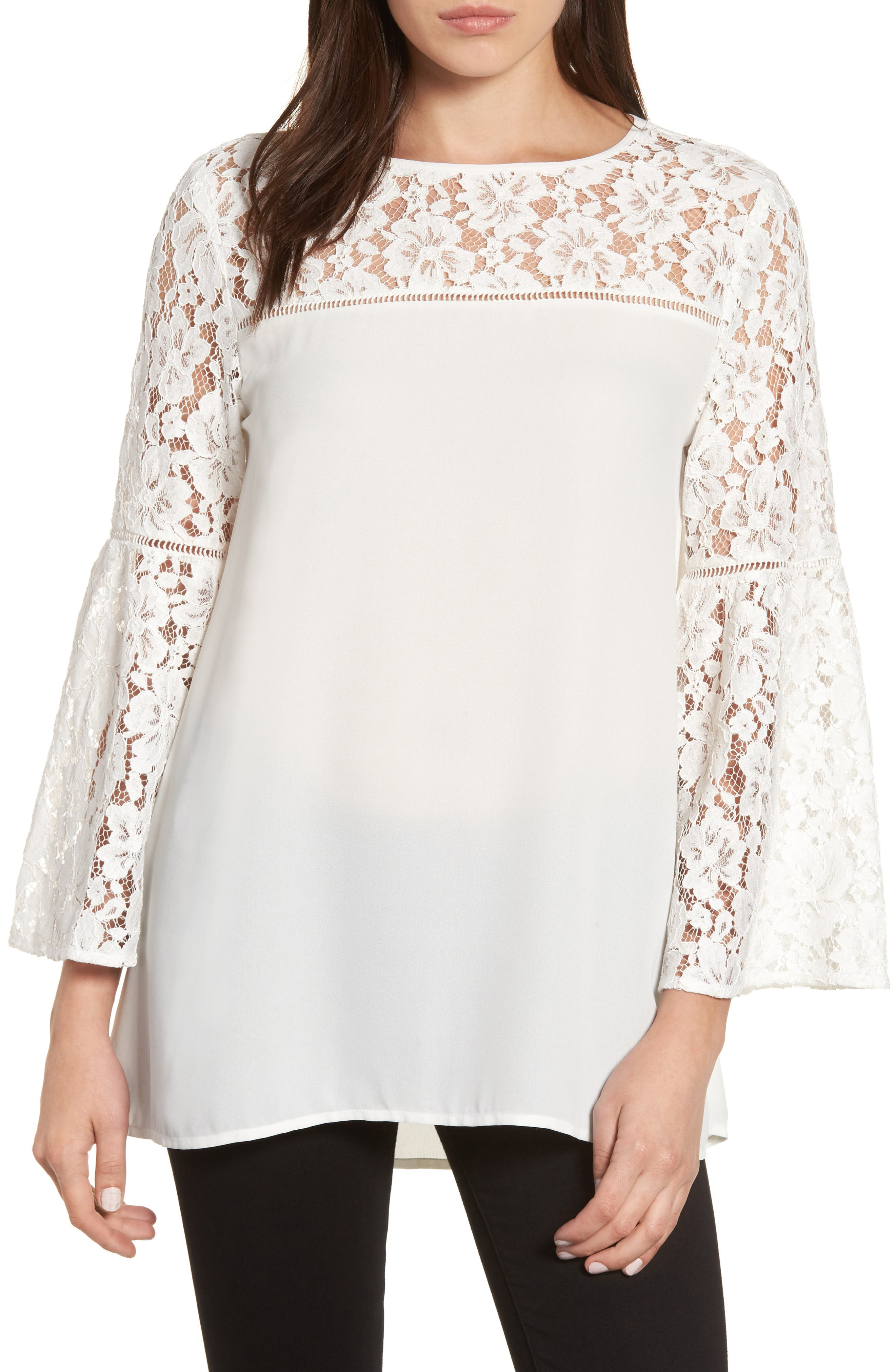 Halogen® Lace Bell Sleeve Top (Regular & Petite)