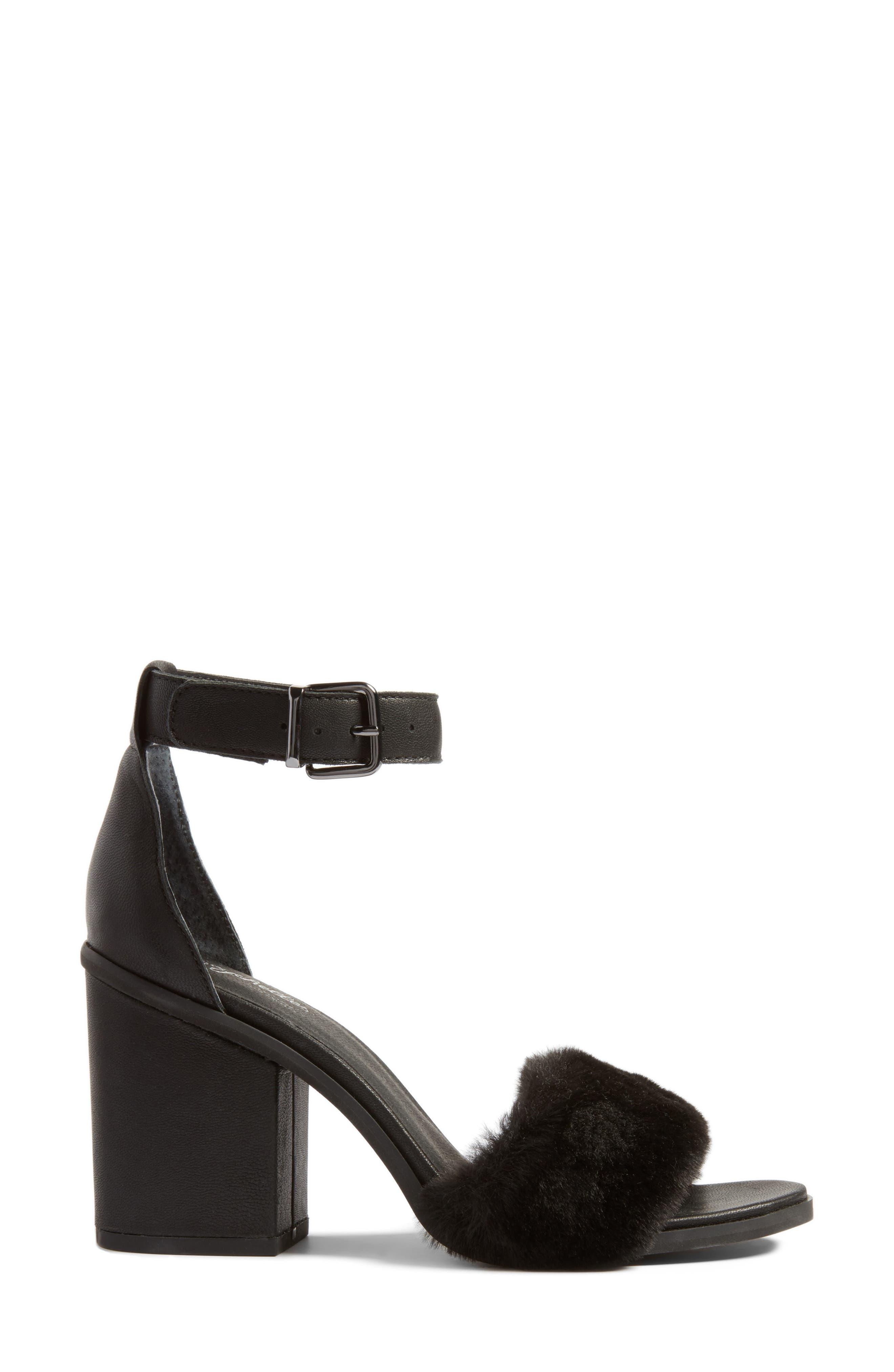 Faux Fur Ankle Strap Sandal,                             Alternate thumbnail 3, color,                             Black Faux Fur Leather