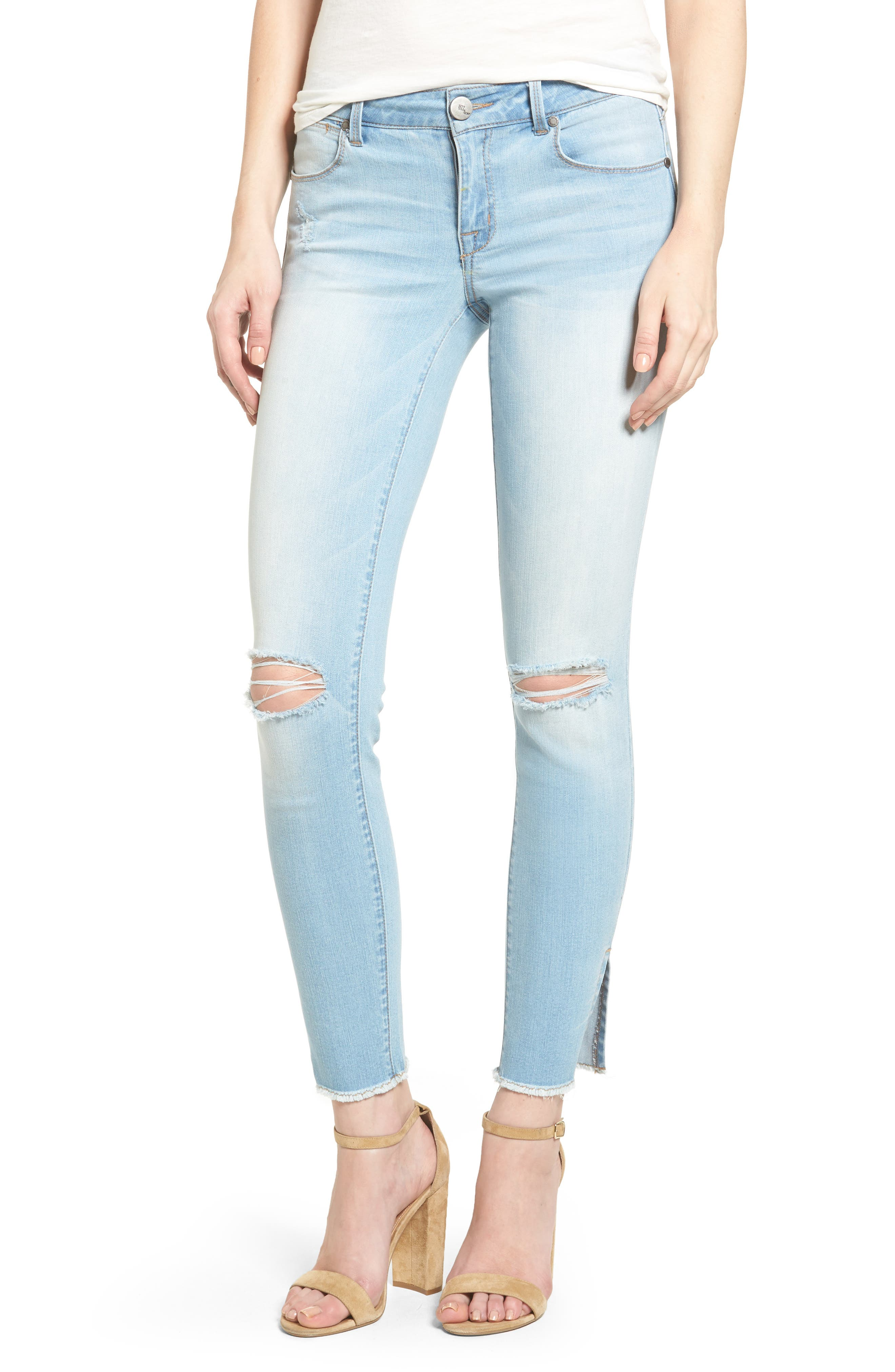 1822 Denim Ripped Ankle Skinny Jeans (Tibet)